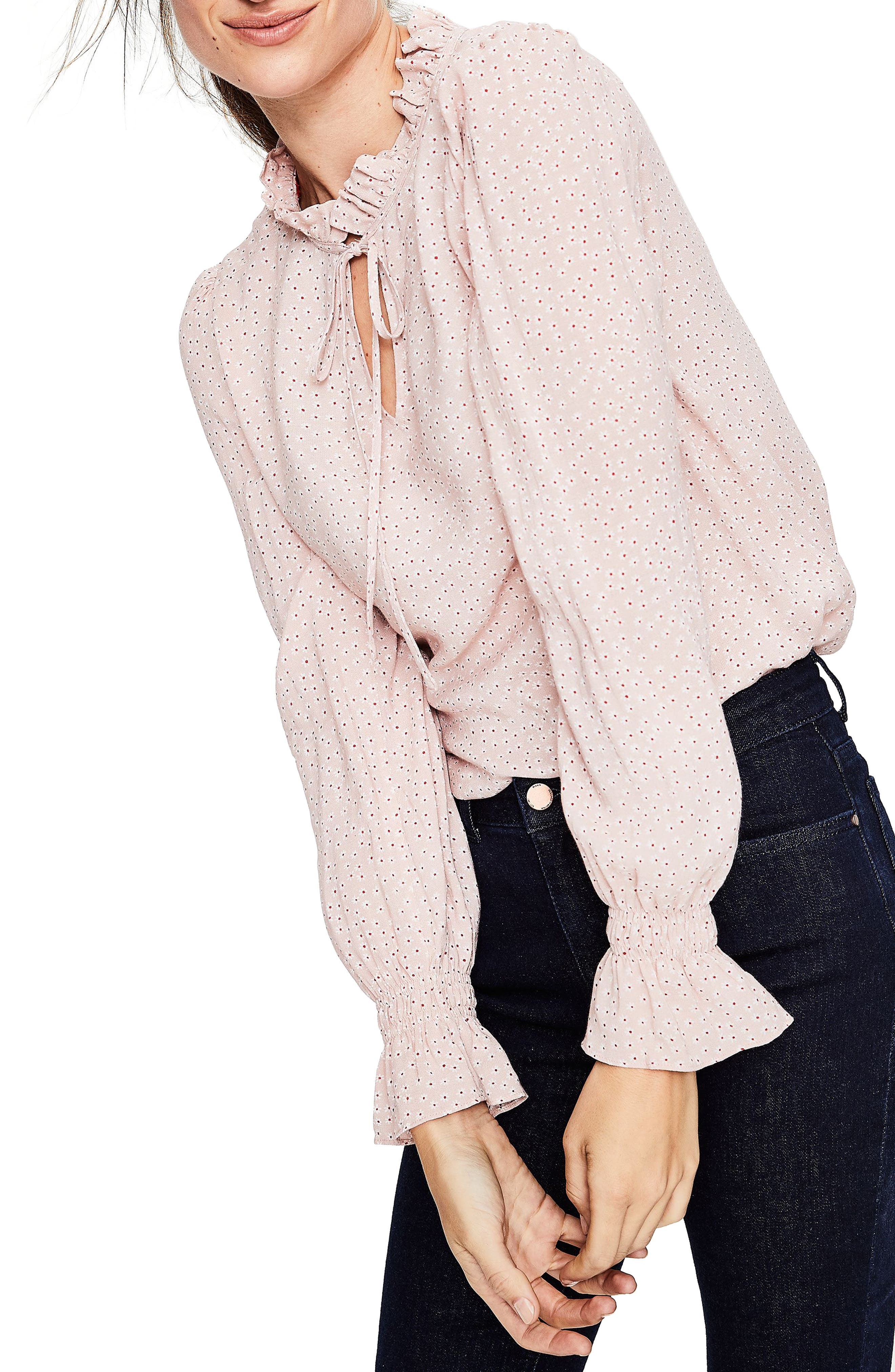 Hotch Potch Ruffled Top,                         Main,                         color, Pink Pearl/ Daisy Sm