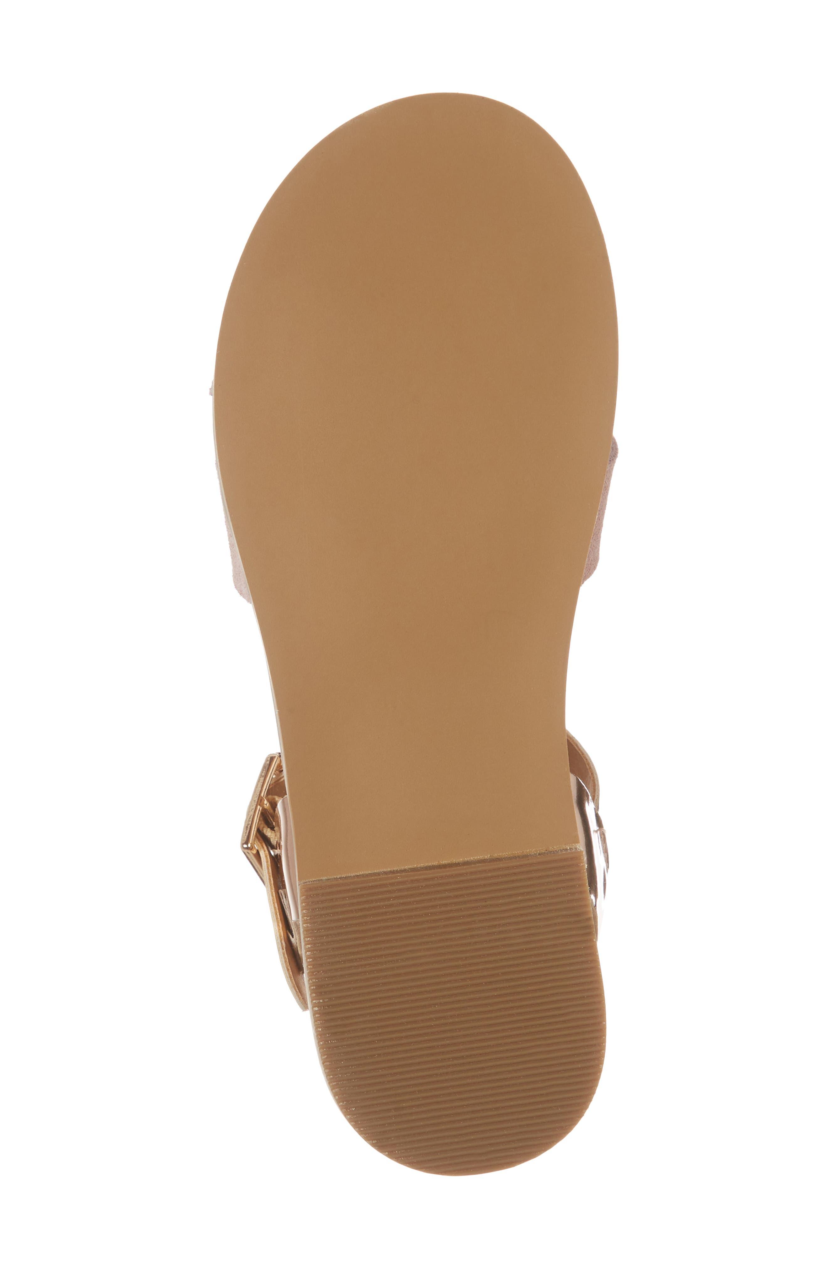 Arya Cross Strap Sandal,                             Alternate thumbnail 7, color,                             Rose Gold Faux Lea