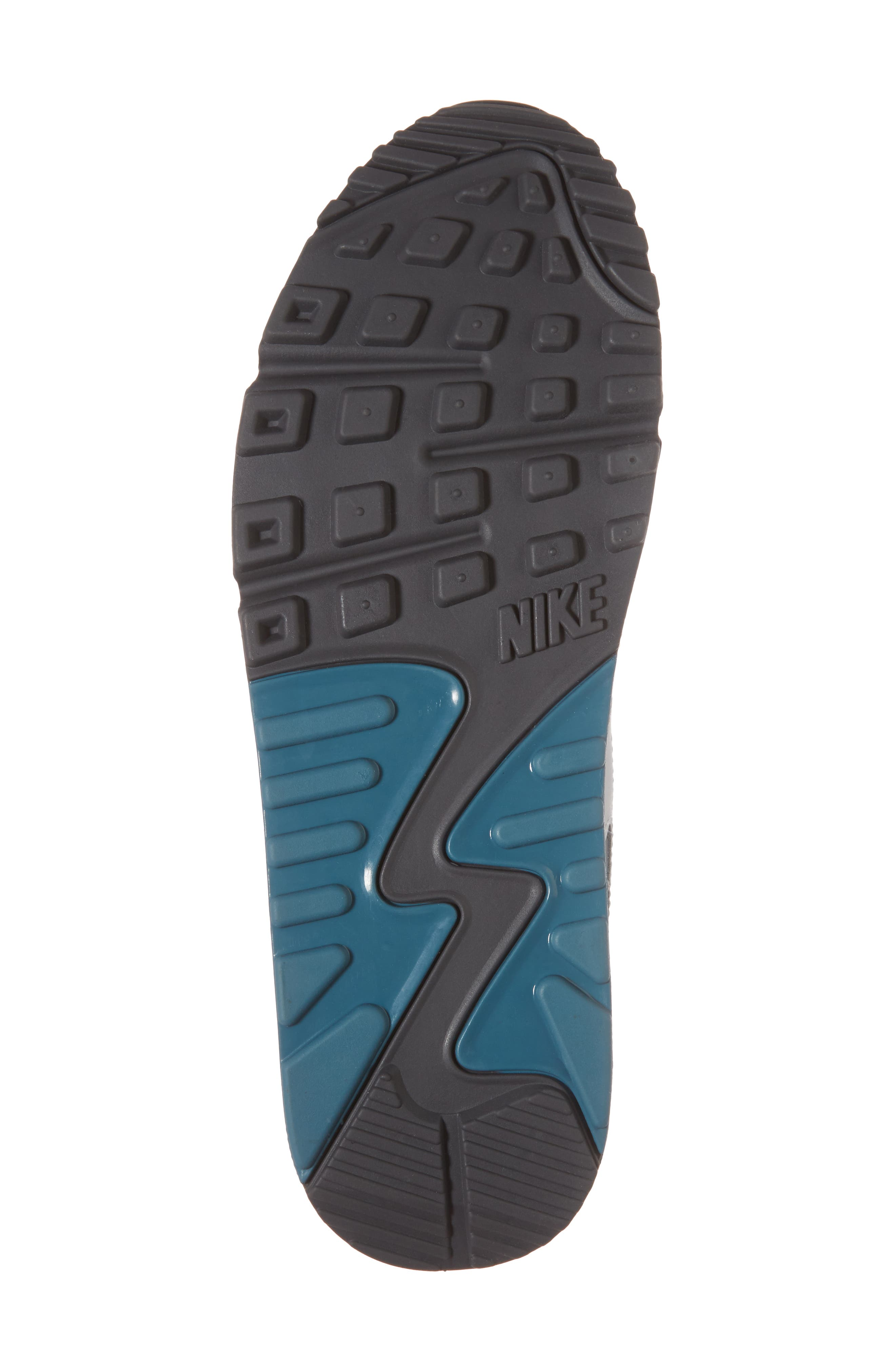 'Air Max 90 Essential' Sneaker,                             Alternate thumbnail 6, color,                             Pure Platinum/ Cool Grey/ Aqua