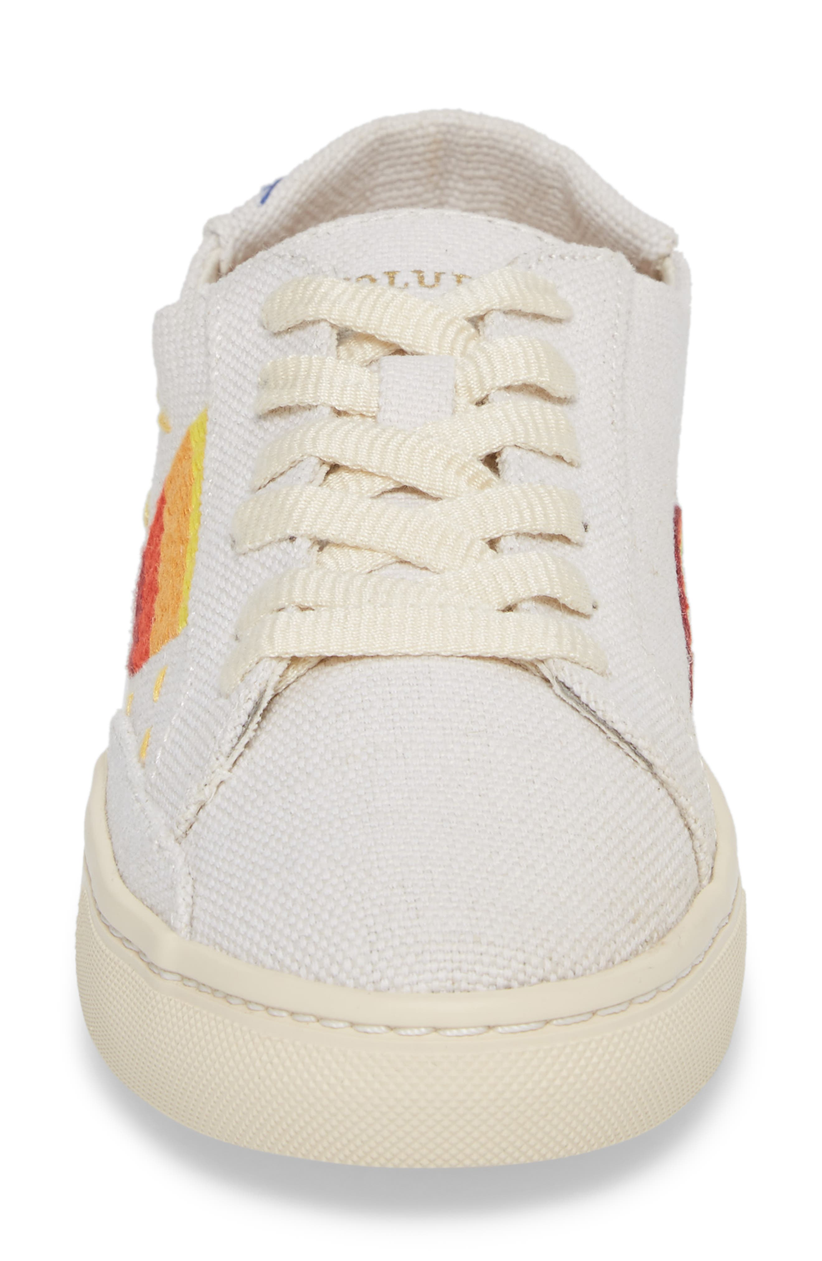 Embroidered Low Top Sneaker,                             Alternate thumbnail 4, color,                             White Canvas