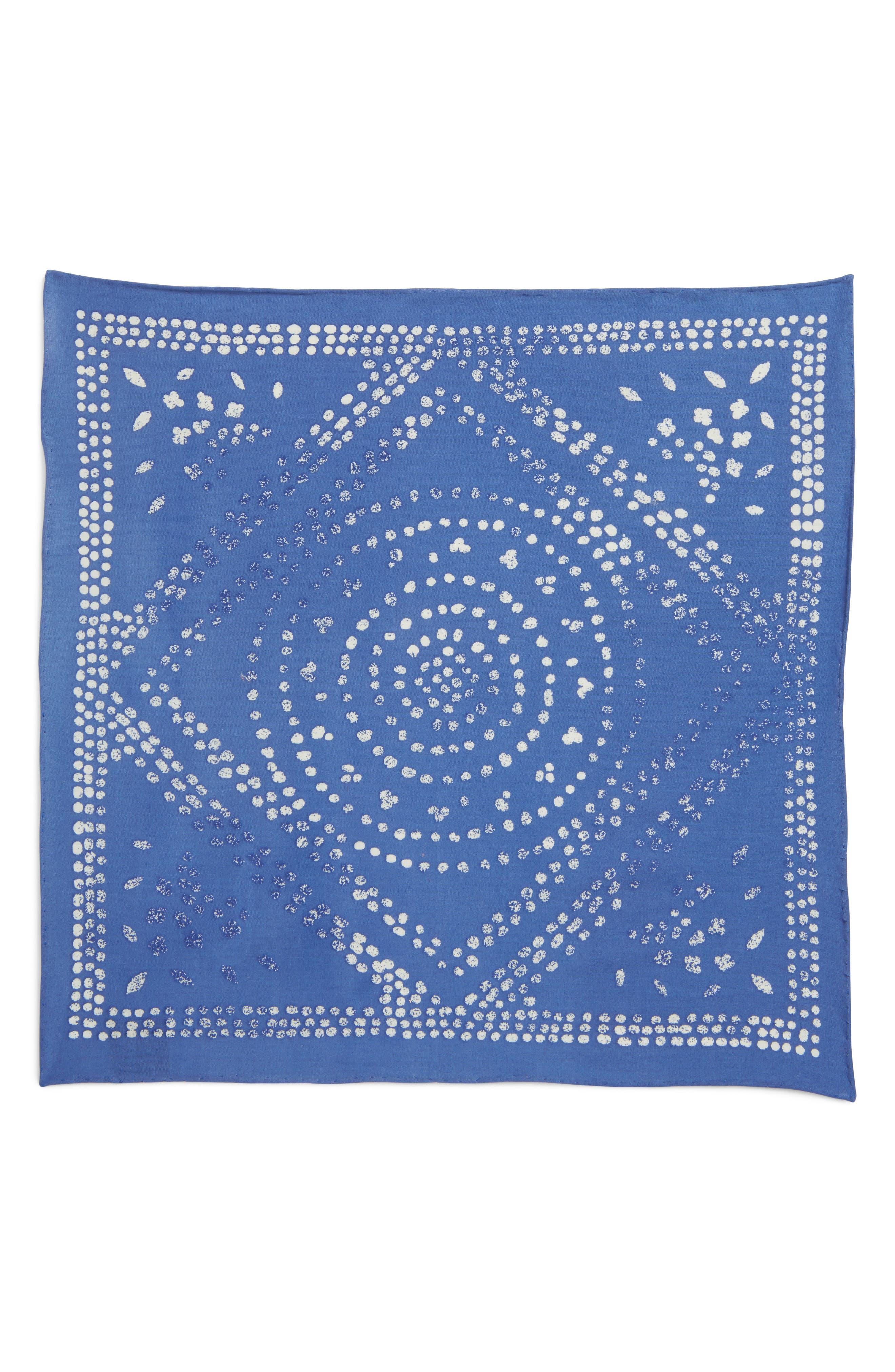 Batik Cotton Pocket Square,                             Alternate thumbnail 2, color,                             Ocean