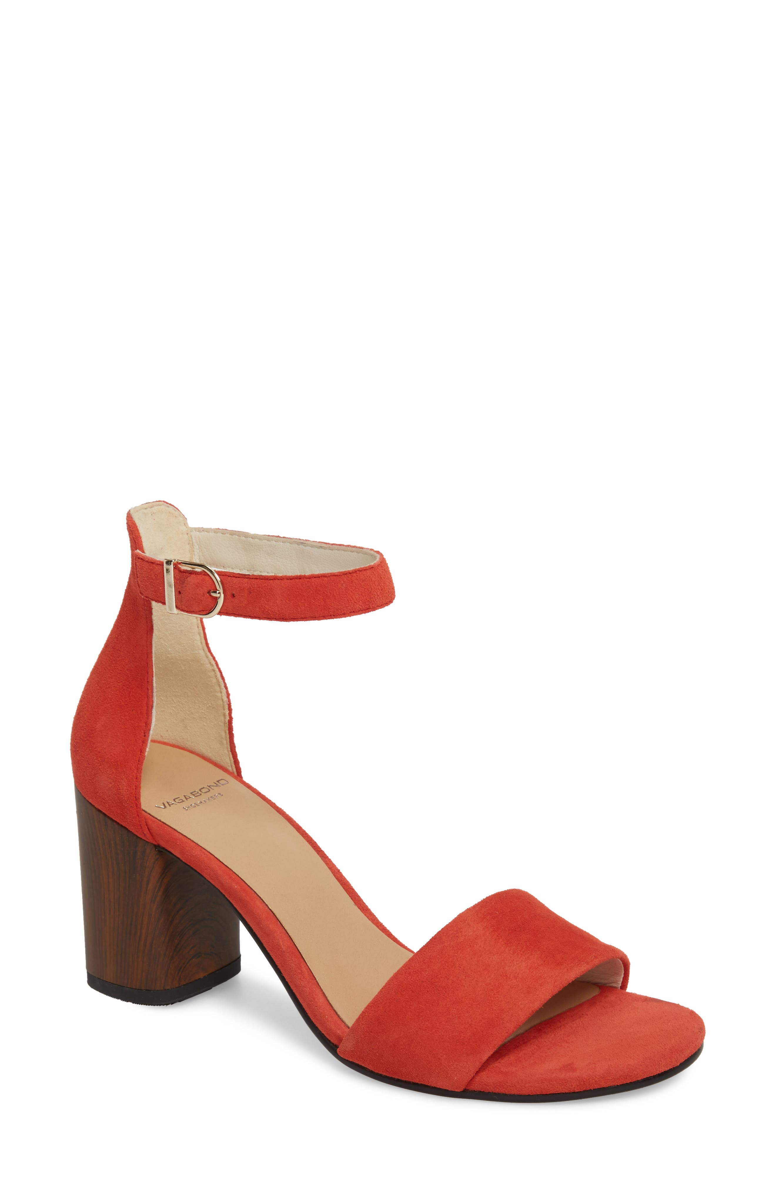Carol Ankle Strap Sandal,                         Main,                         color, Coral Suede