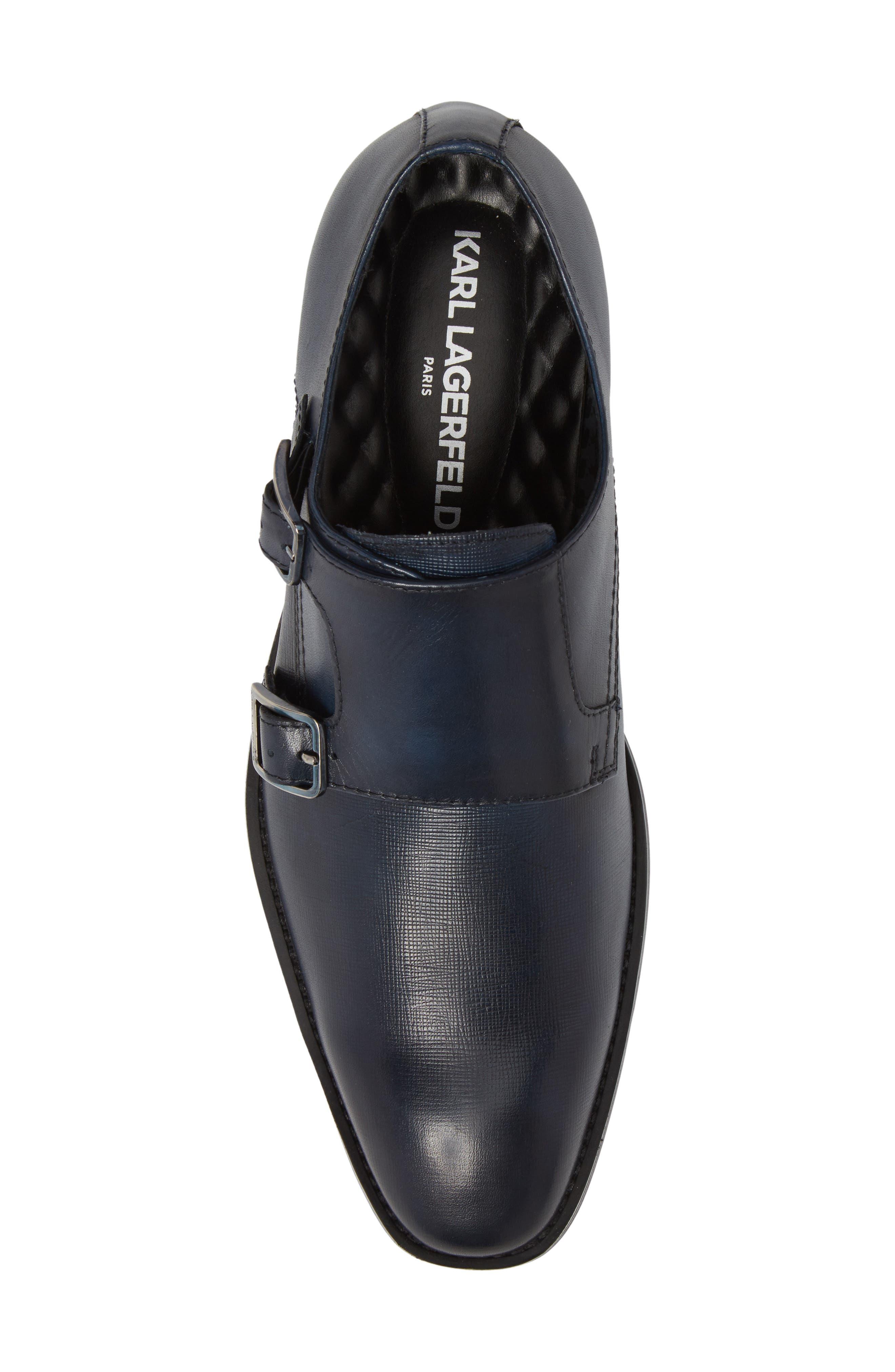 Karl Lagerfeld Double Strap Monk Shoe,                             Alternate thumbnail 5, color,                             Navy