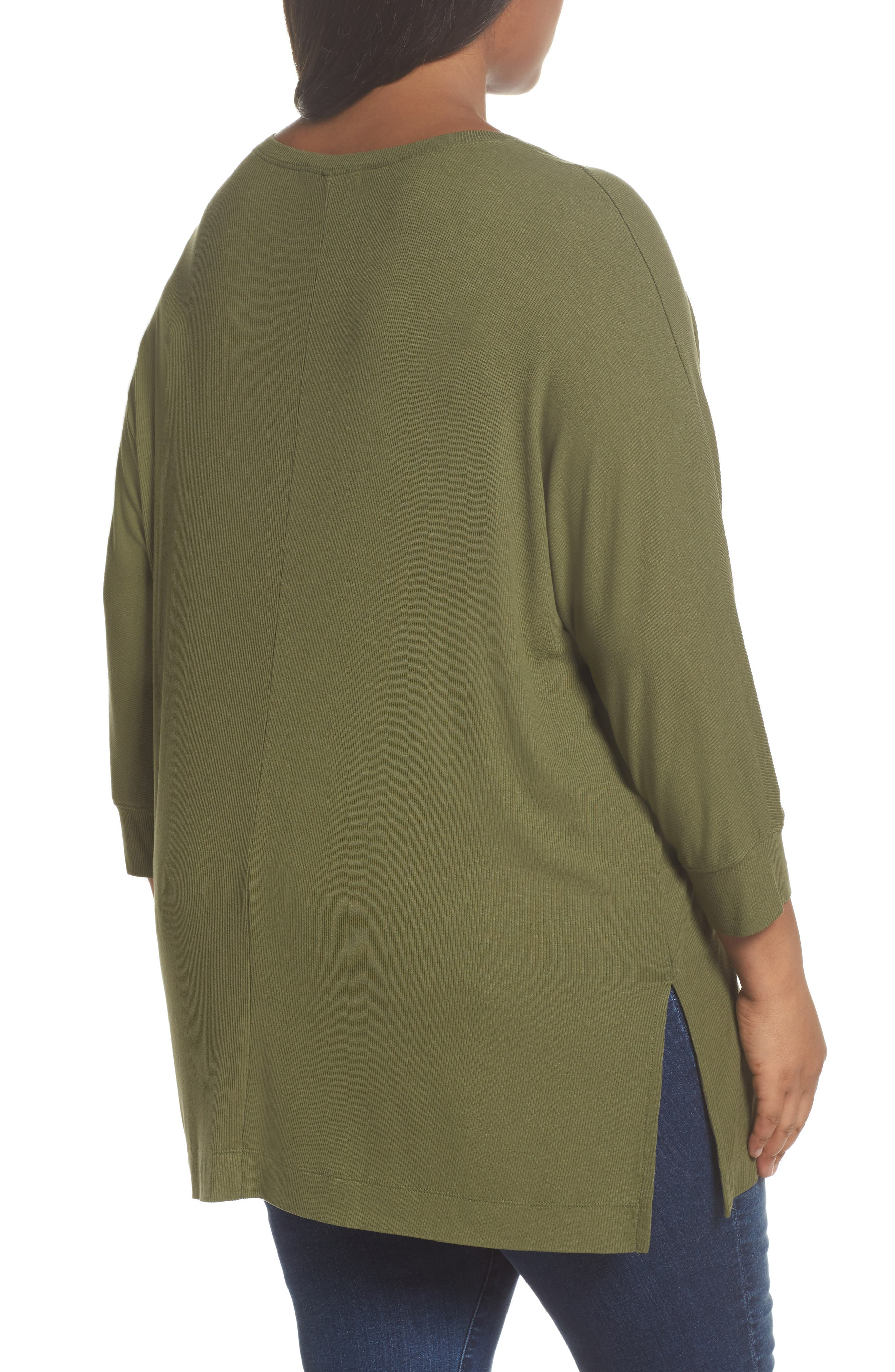 V-Neck Tunic Top,                             Alternate thumbnail 2, color,                             Olive Moss