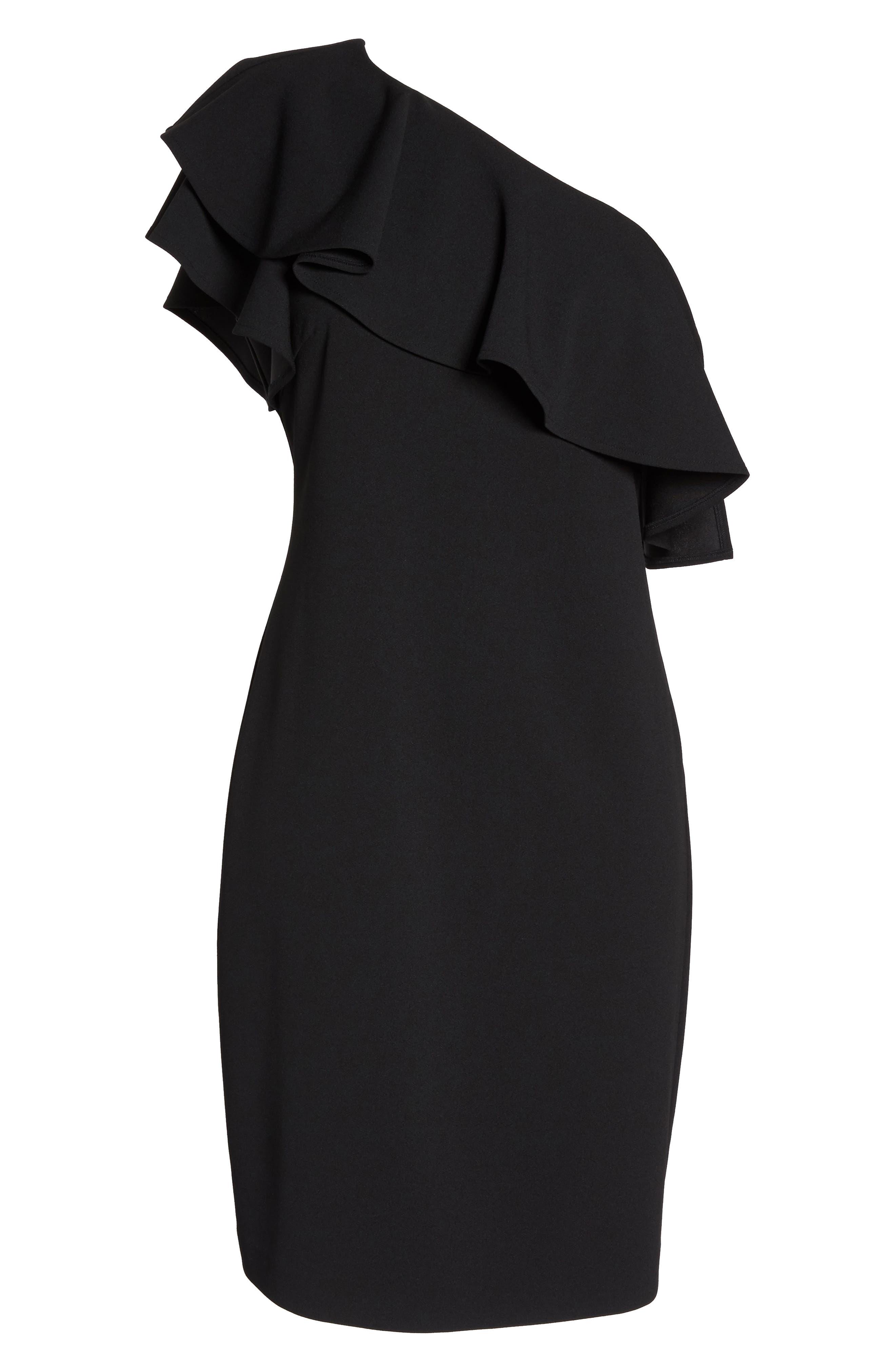 One-Shoulder Ruffle Dress,                             Alternate thumbnail 6, color,                             Black