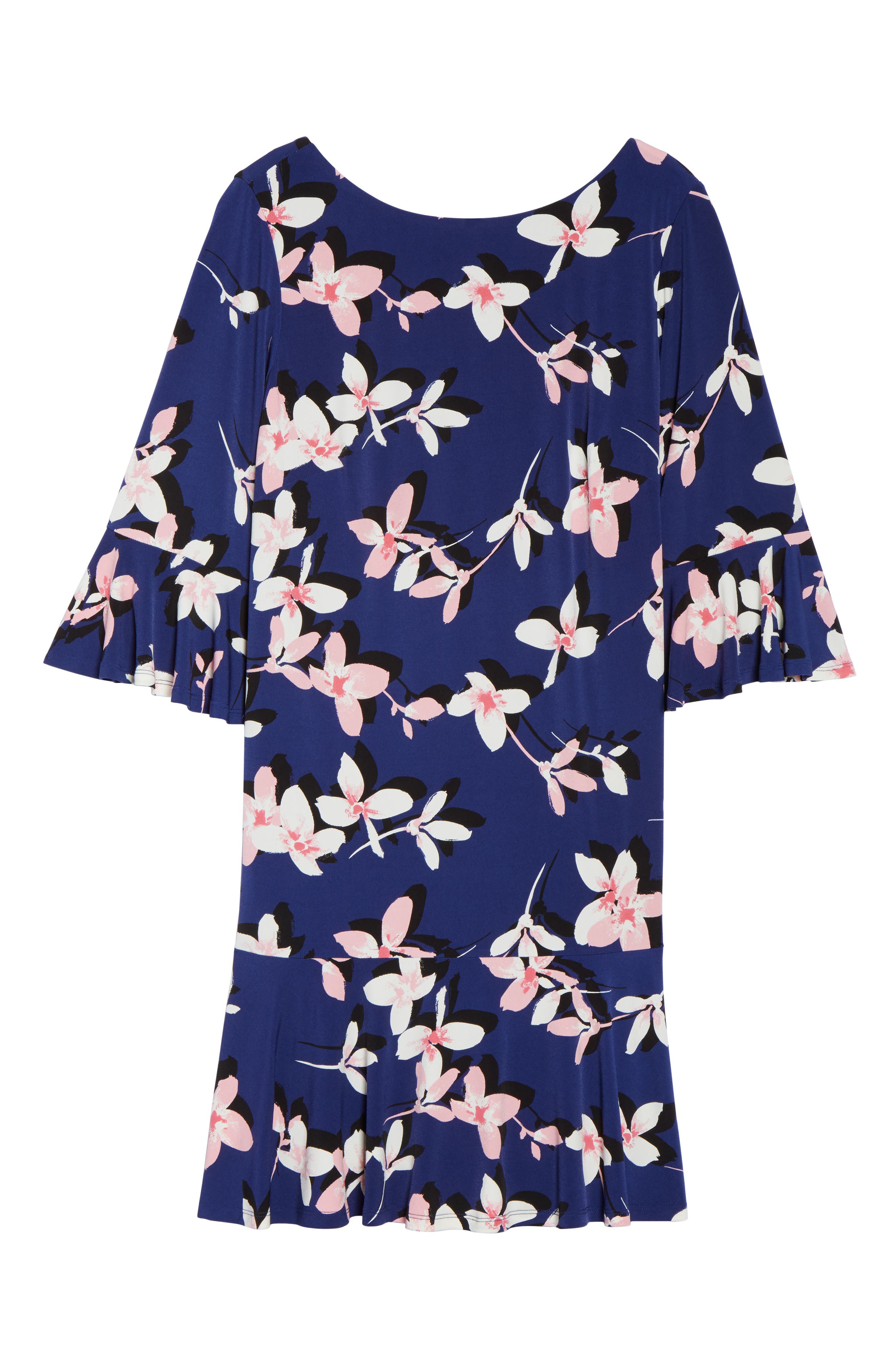Floral Print Bell Sleeve Dress,                             Alternate thumbnail 6, color,                             Navy/ Pink