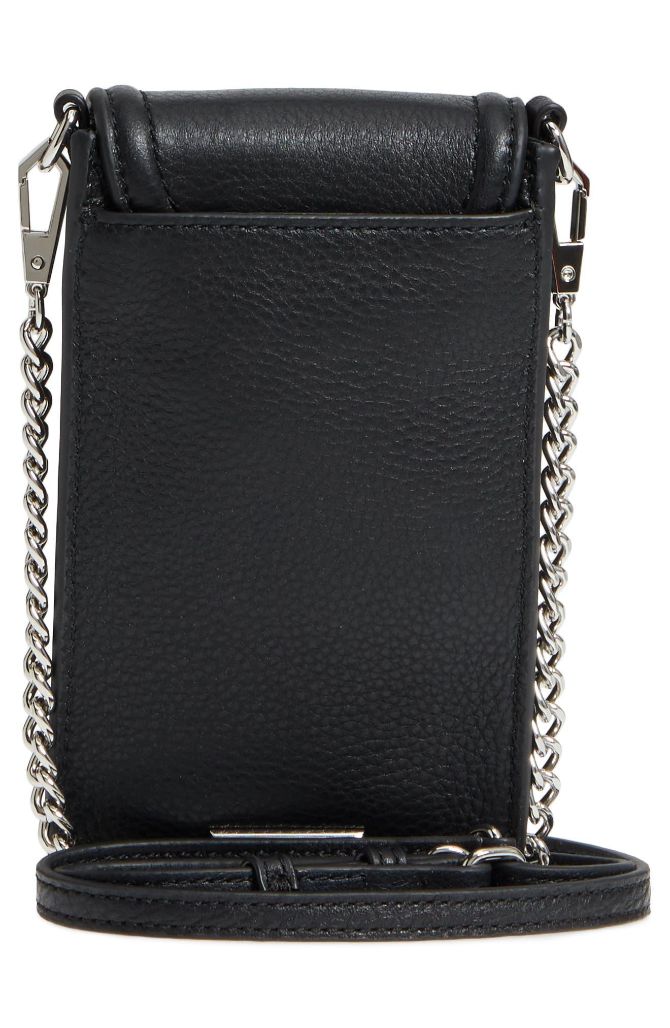 Darren Leather Phone Crossbody Bag,                             Alternate thumbnail 3, color,                             Black