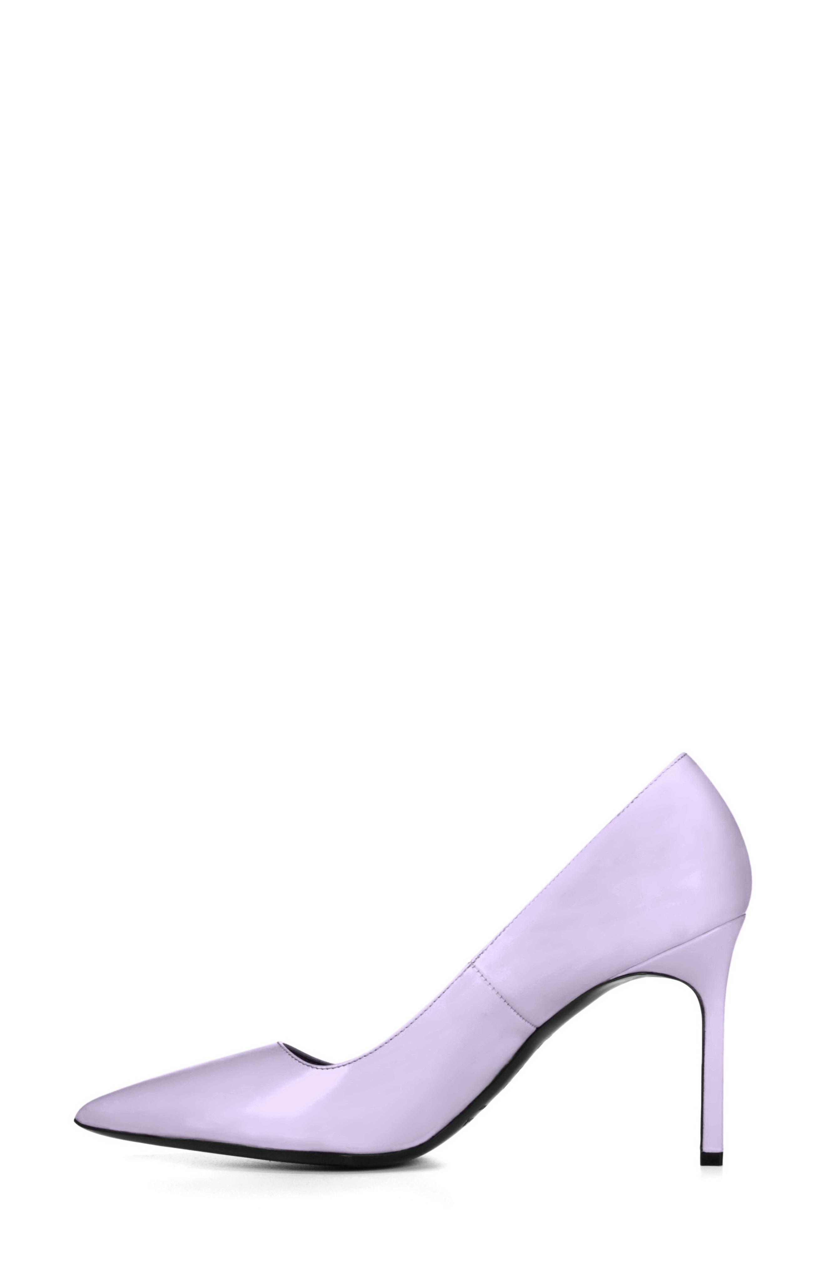 Nikole Pointy Toe Pump,                             Alternate thumbnail 3, color,                             Lilac Leather