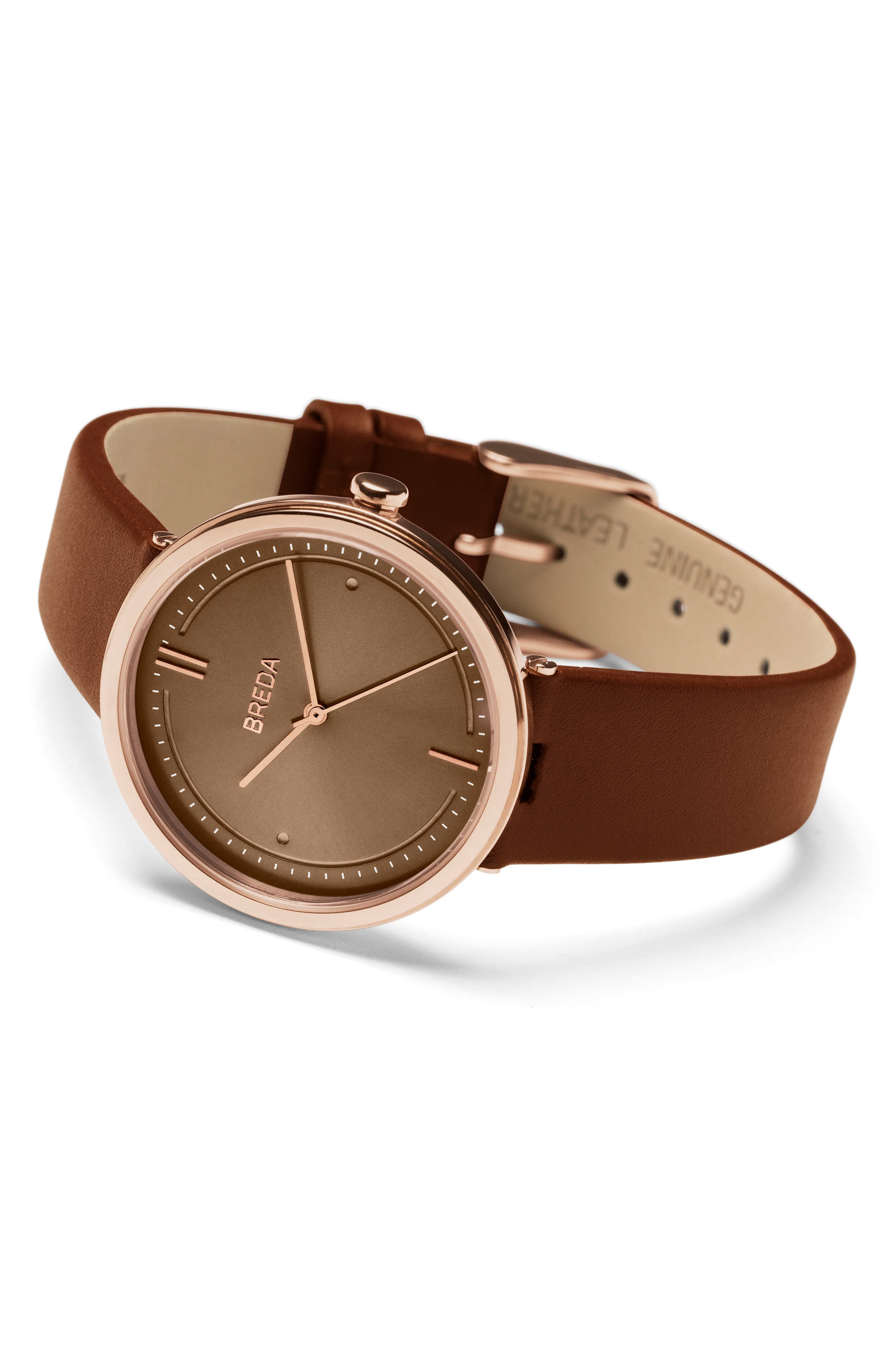 Agnes Leather Strap Watch, 34mm,                             Alternate thumbnail 2, color,                             Brown/ Rose Gold