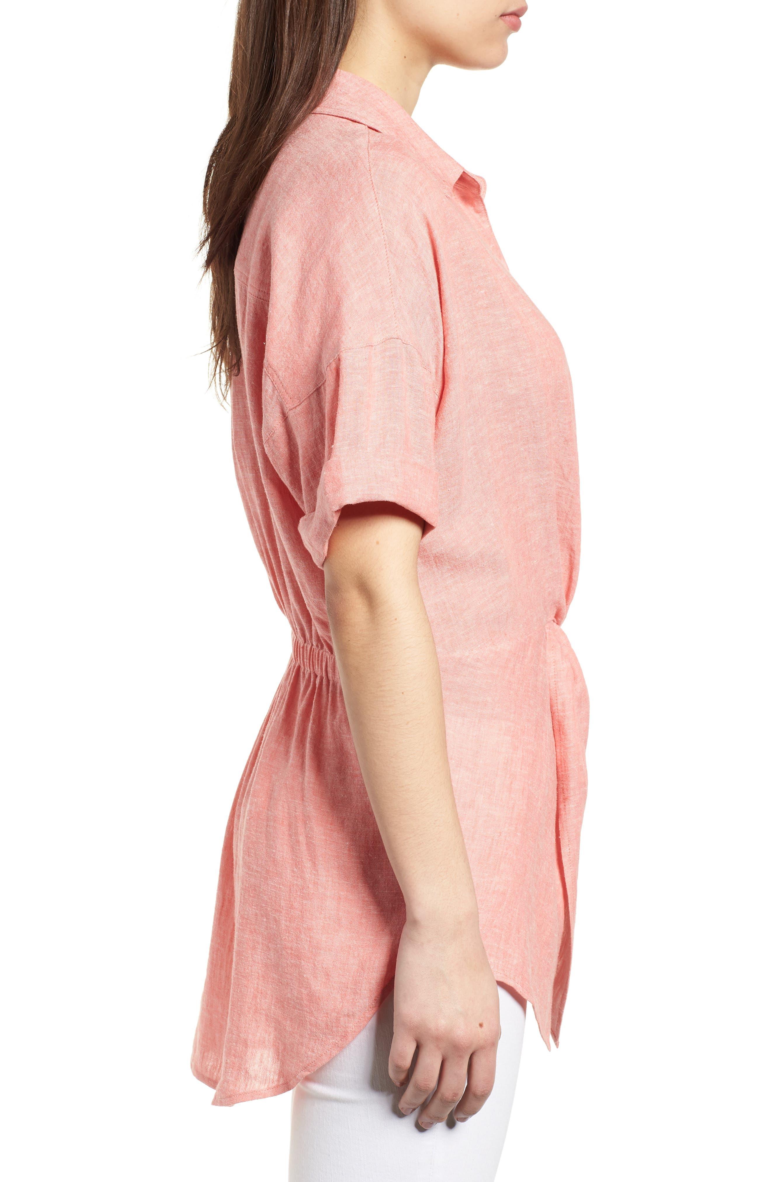 Twist Front Linen Blend Shirt,                             Alternate thumbnail 3, color,                             Coral Rose Crossdye