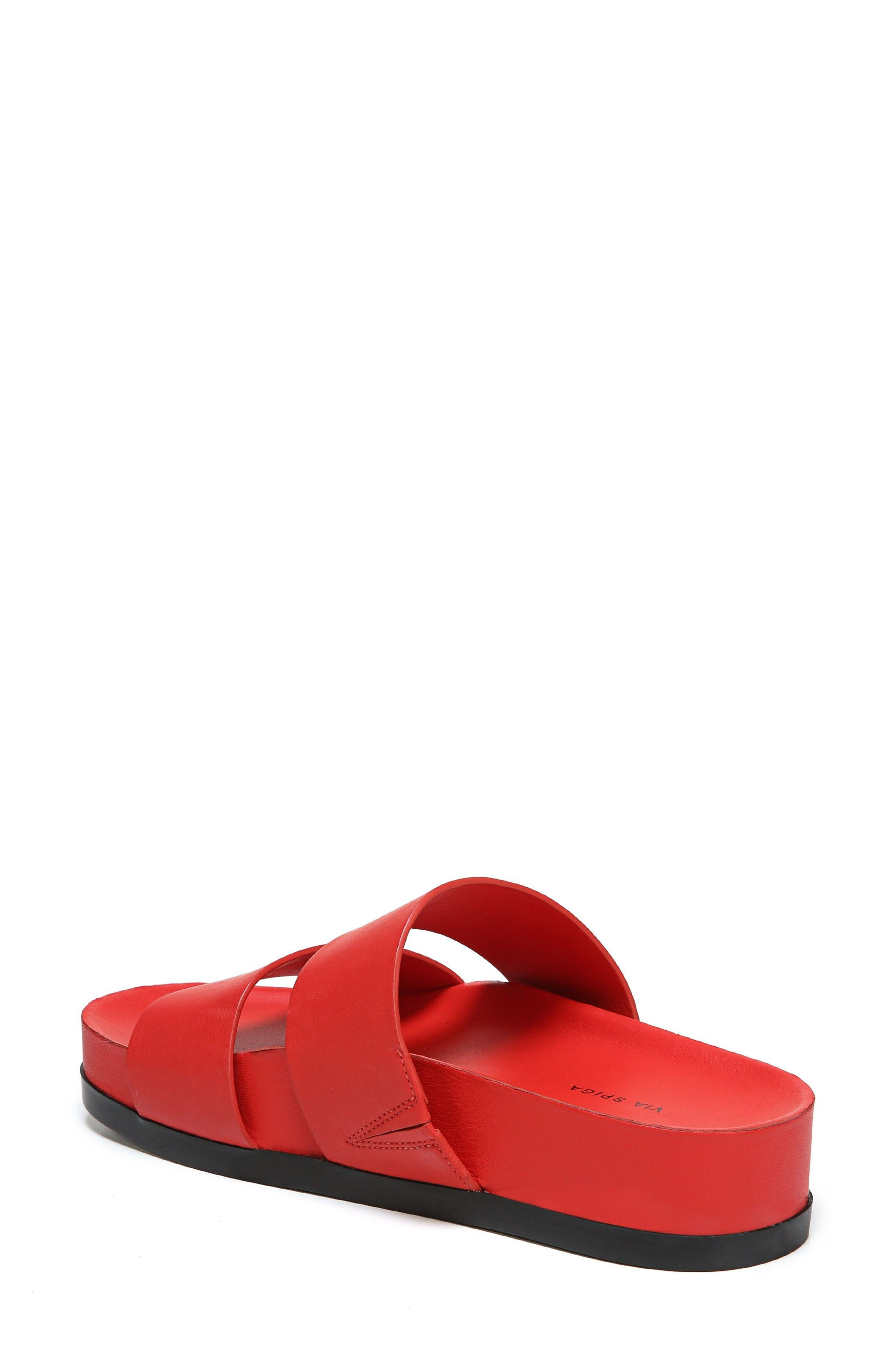 Milton Slide Sandal,                             Alternate thumbnail 2, color,                             Poppy Red Leather