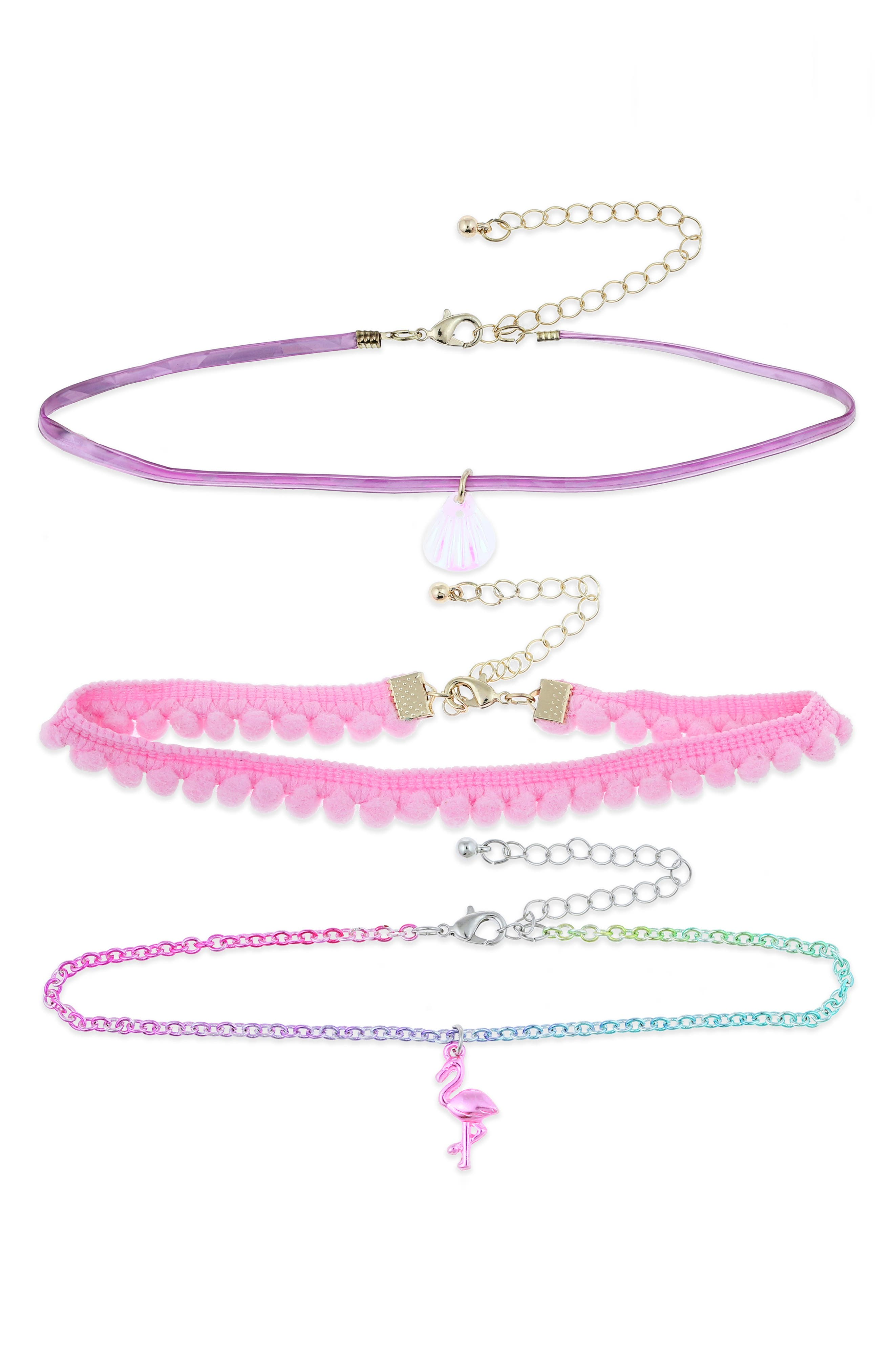 Set of 3 Chokers,                         Main,                         color, Pink