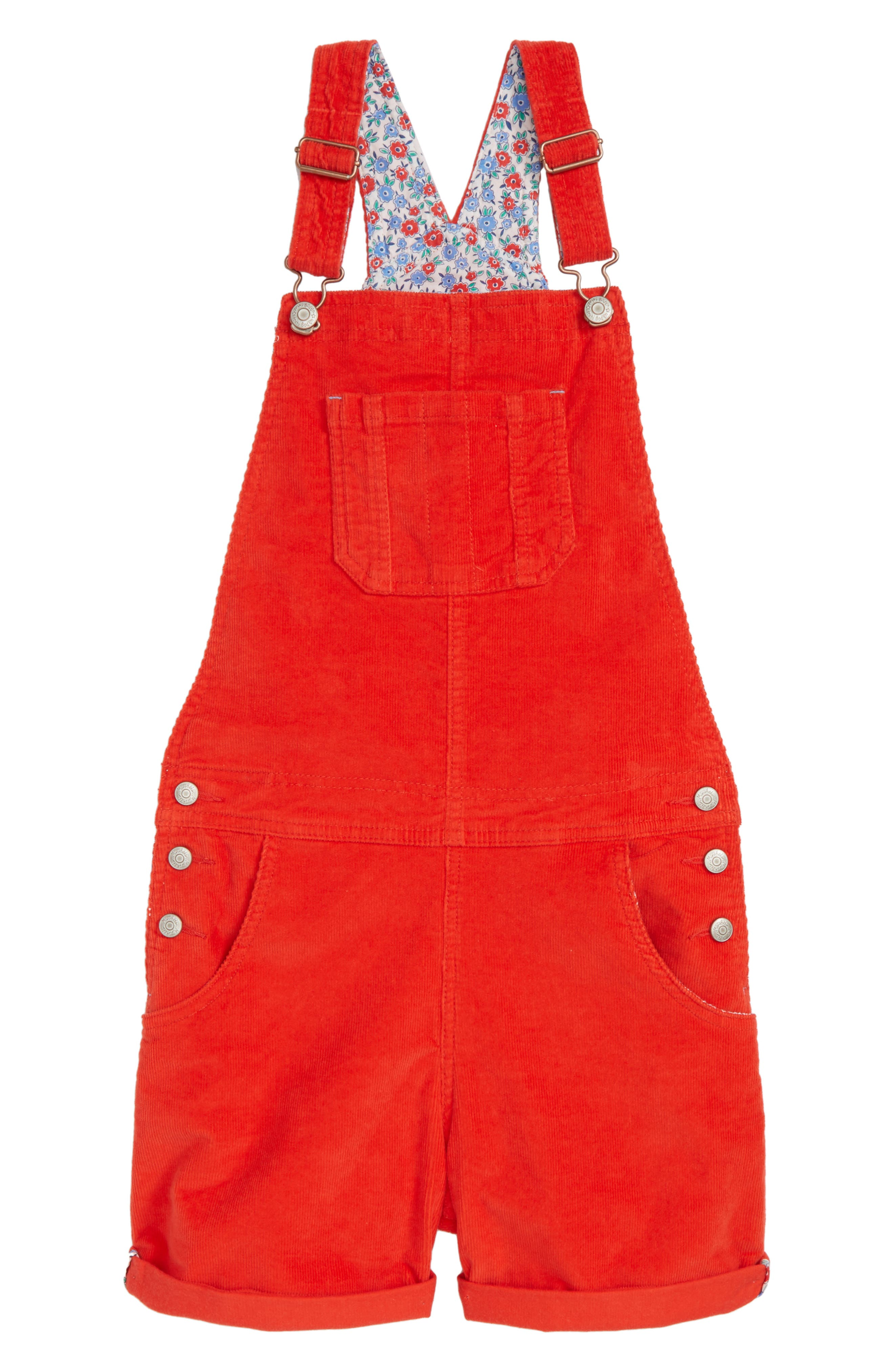 Short Corduroy Overalls,                         Main,                         color, Rosehip Red