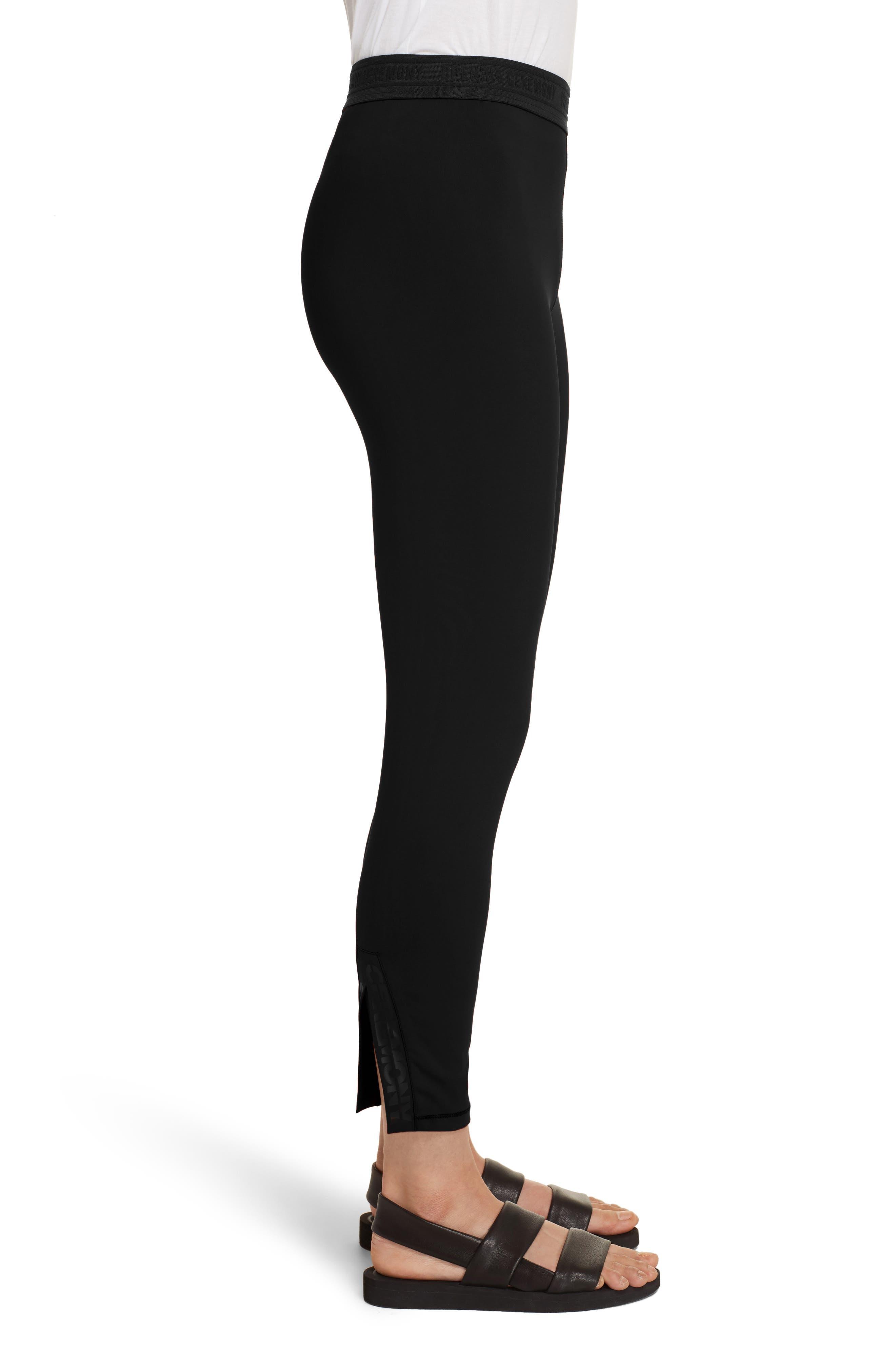 Split Back Leggings,                             Alternate thumbnail 3, color,                             Black