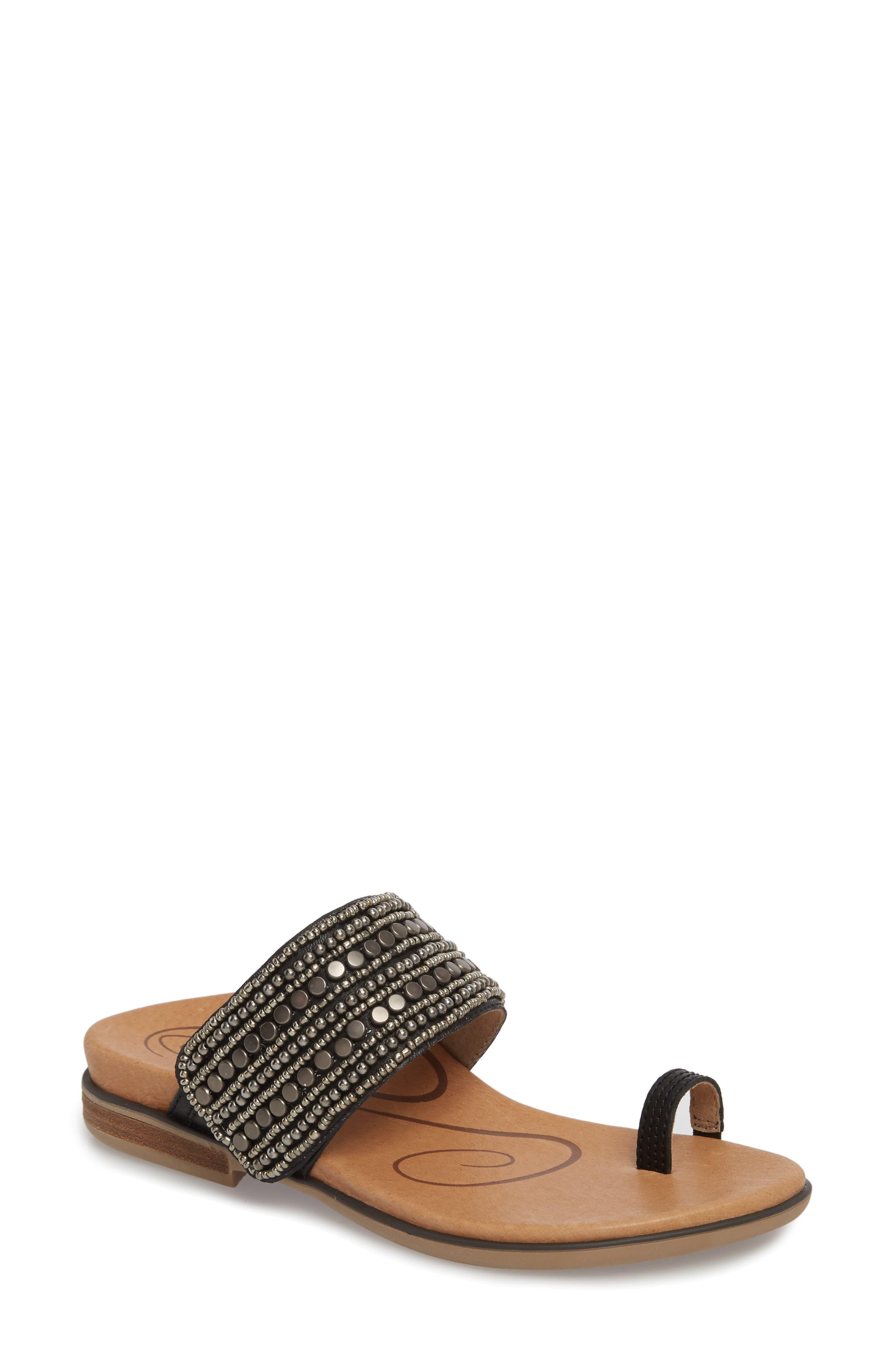 Layla Embellished Slide Sandal,                             Main thumbnail 1, color,                             Black Leather