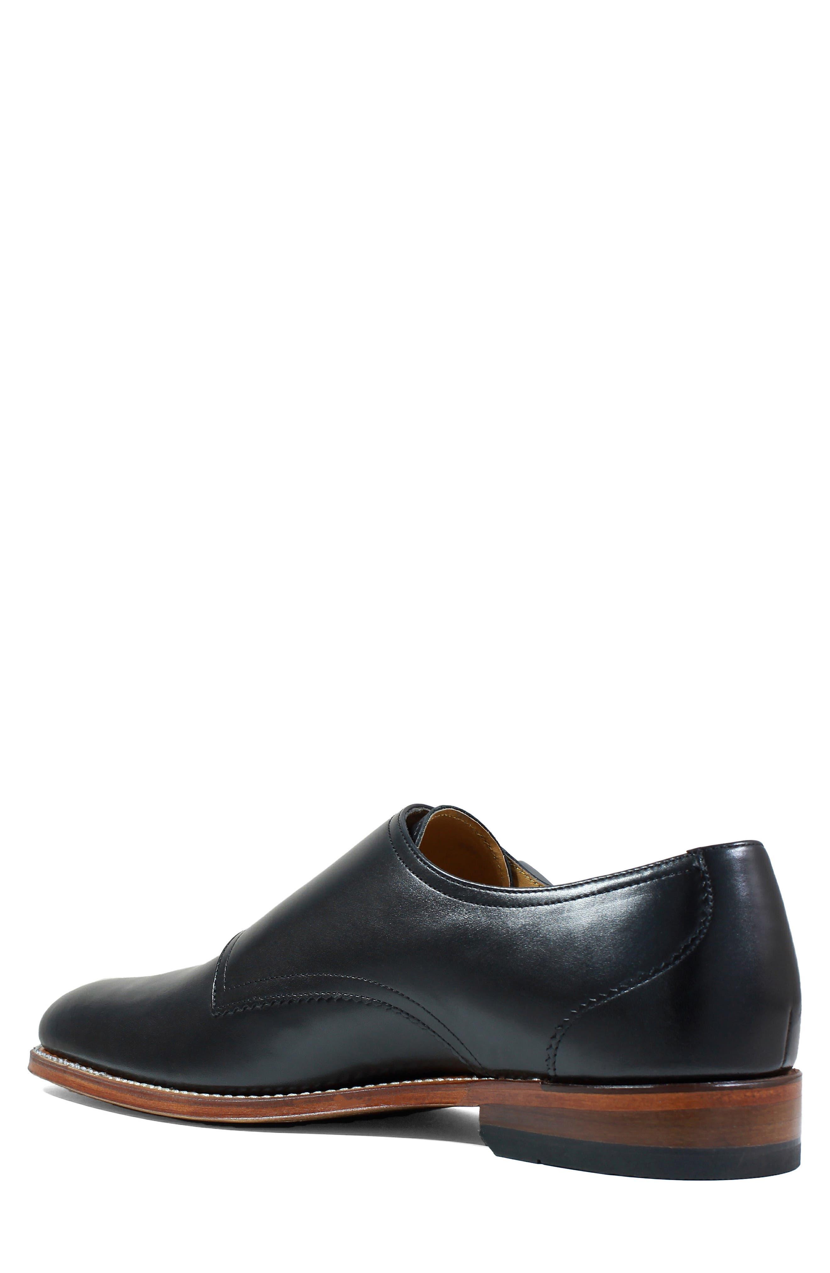 M2 Plain Toe Double Strap Monk Shoe,                             Alternate thumbnail 2, color,                             Black Leather