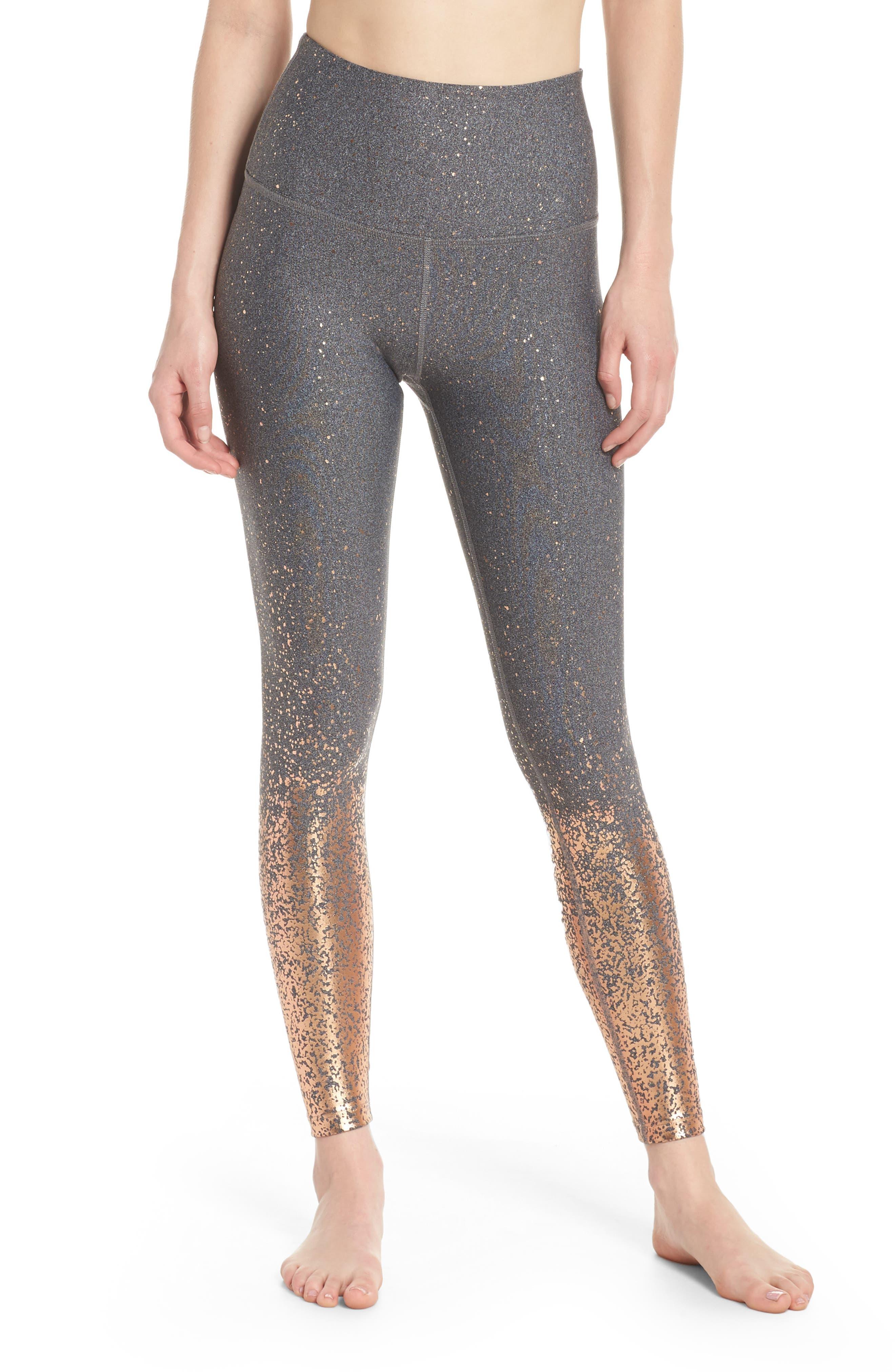 Ombré High Waist Leggings,                         Main,                         color, Black-White Rose Gold Speckle