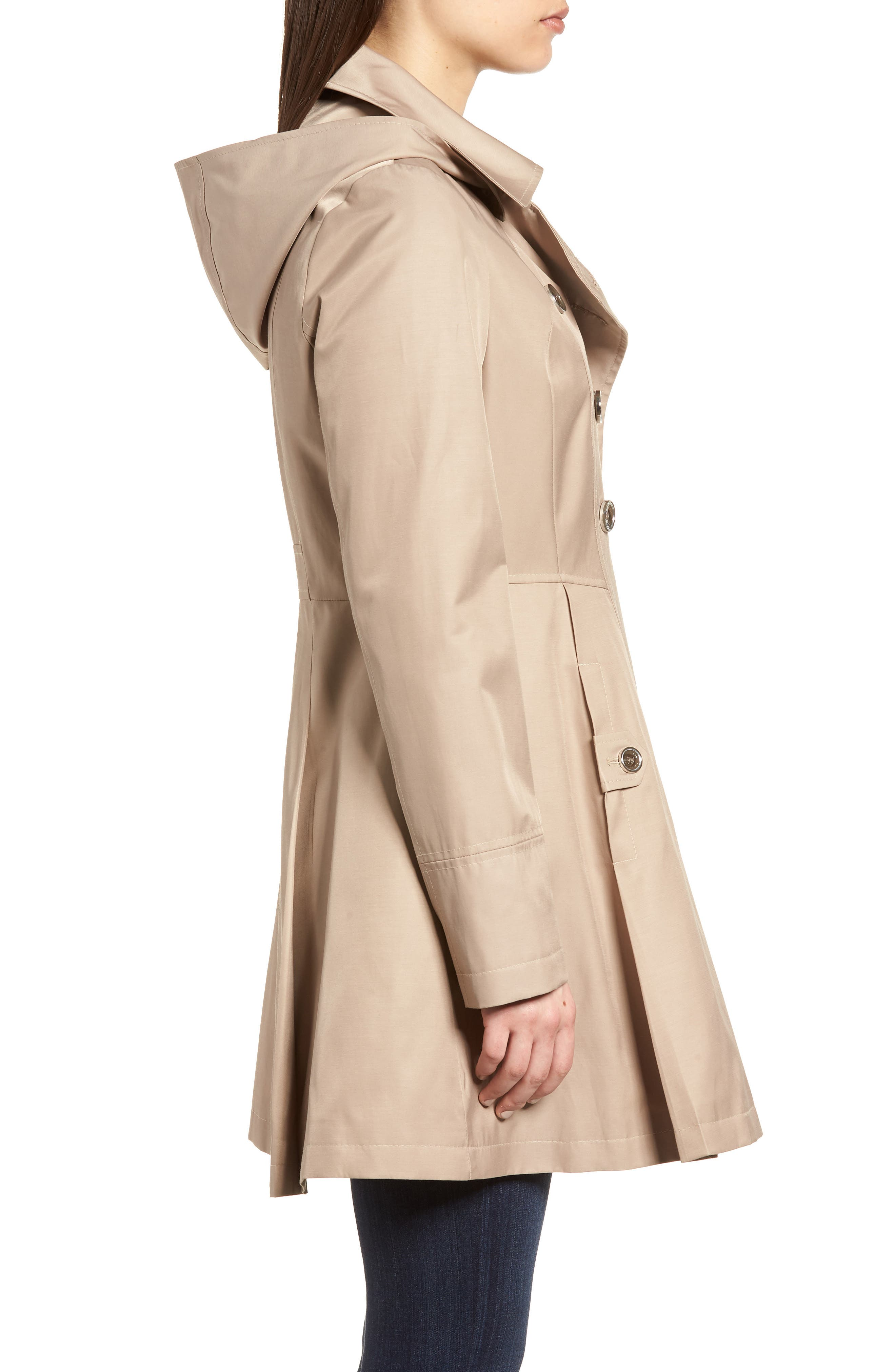 Double Breasted Fit & Flare Trench Coat,                             Alternate thumbnail 3, color,                             Sand
