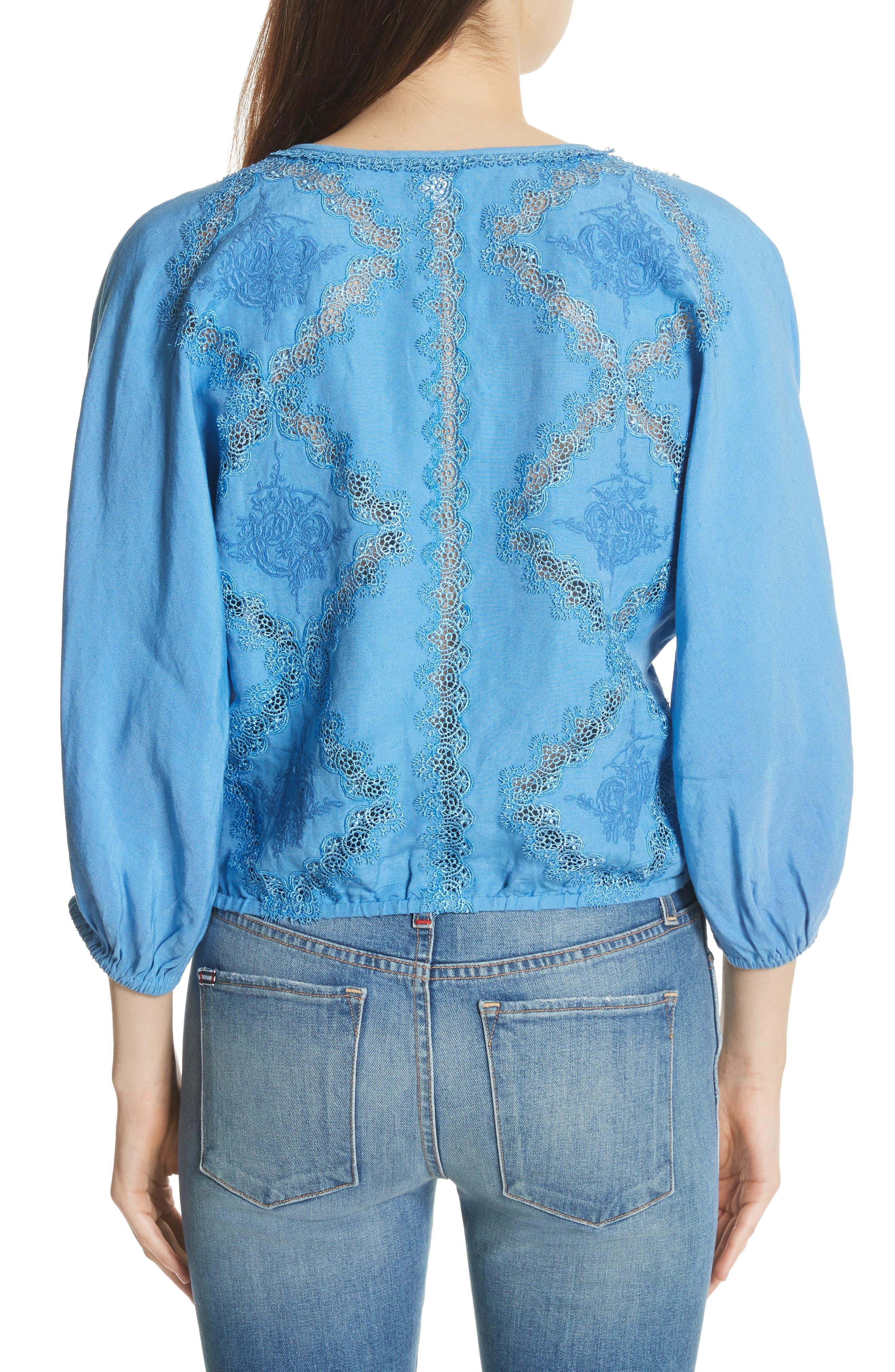 Alternate Image 2  - Alice + Olivia Hilma Embroidered Blouson Sleeve Blouse