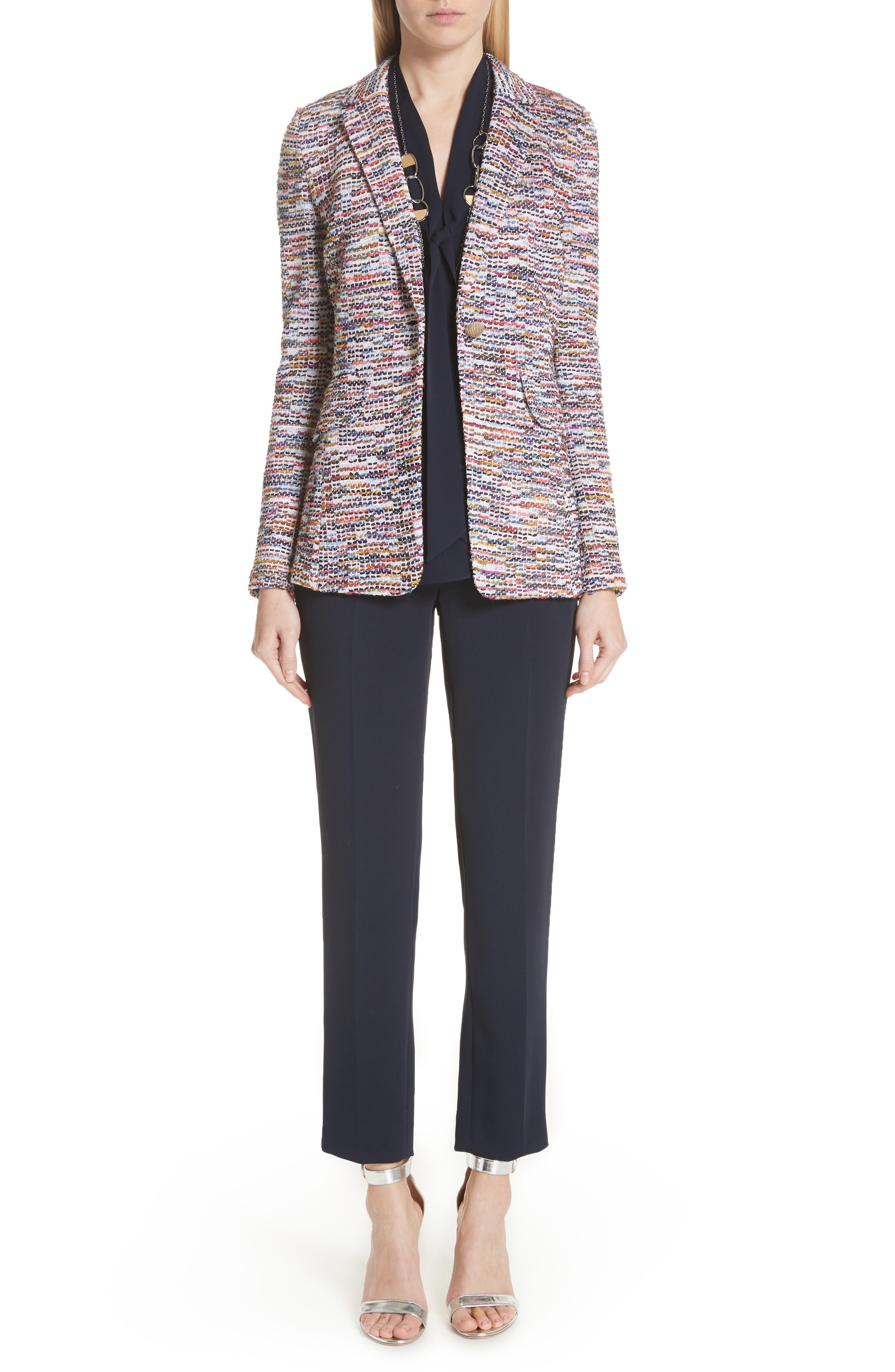 Vertical Fringe Multi Tweed Knit Jacket,                             Alternate thumbnail 8, color,                             Sienna Multi