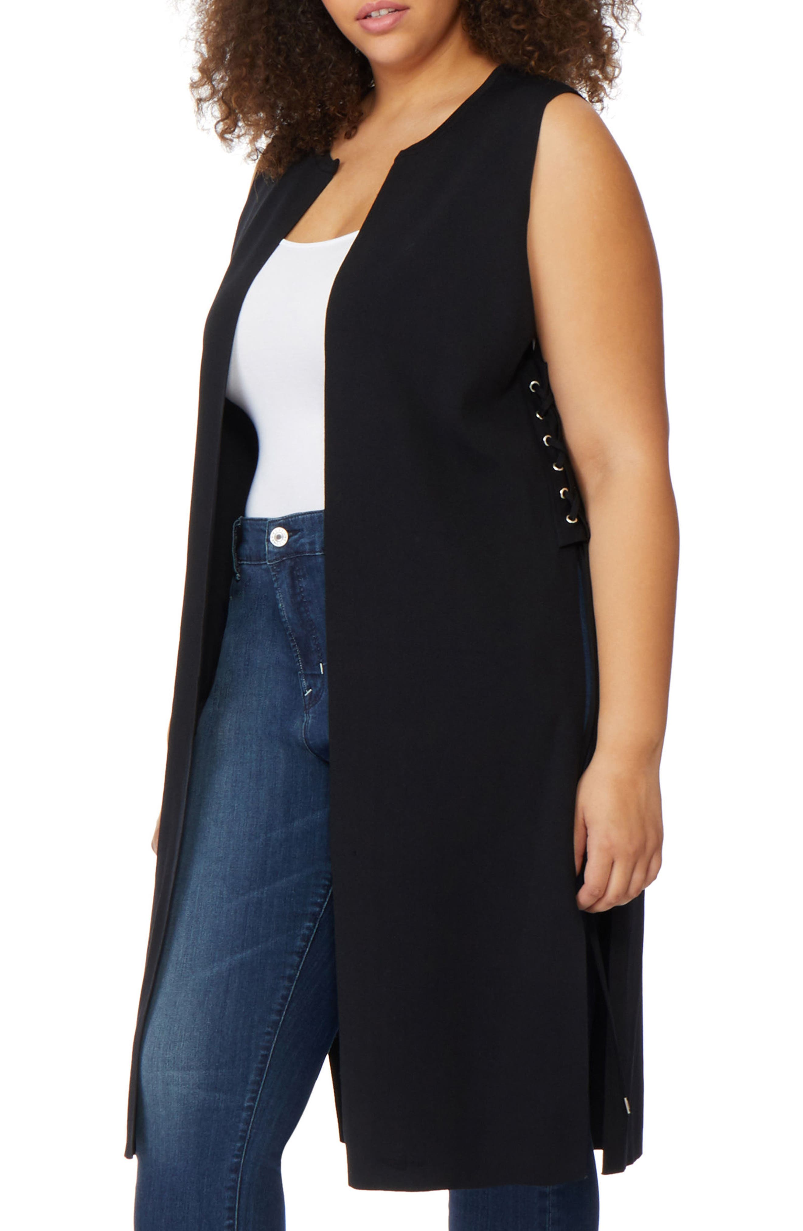 Side Lace-Up Knit Duster,                             Alternate thumbnail 3, color,                             Black