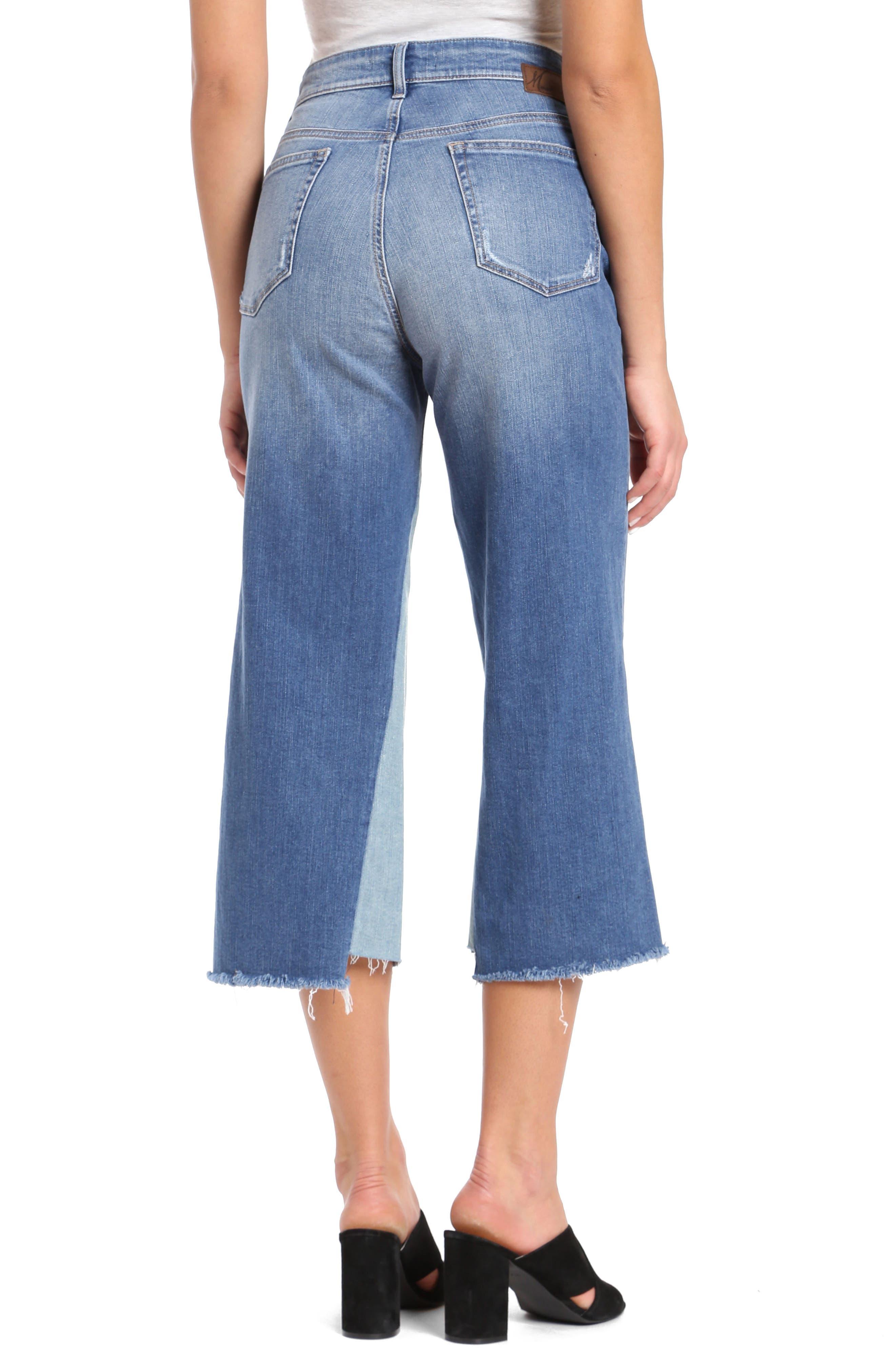 Elliott Wide Leg Contrast Jeans,                             Alternate thumbnail 2, color,                             Mid Shadow