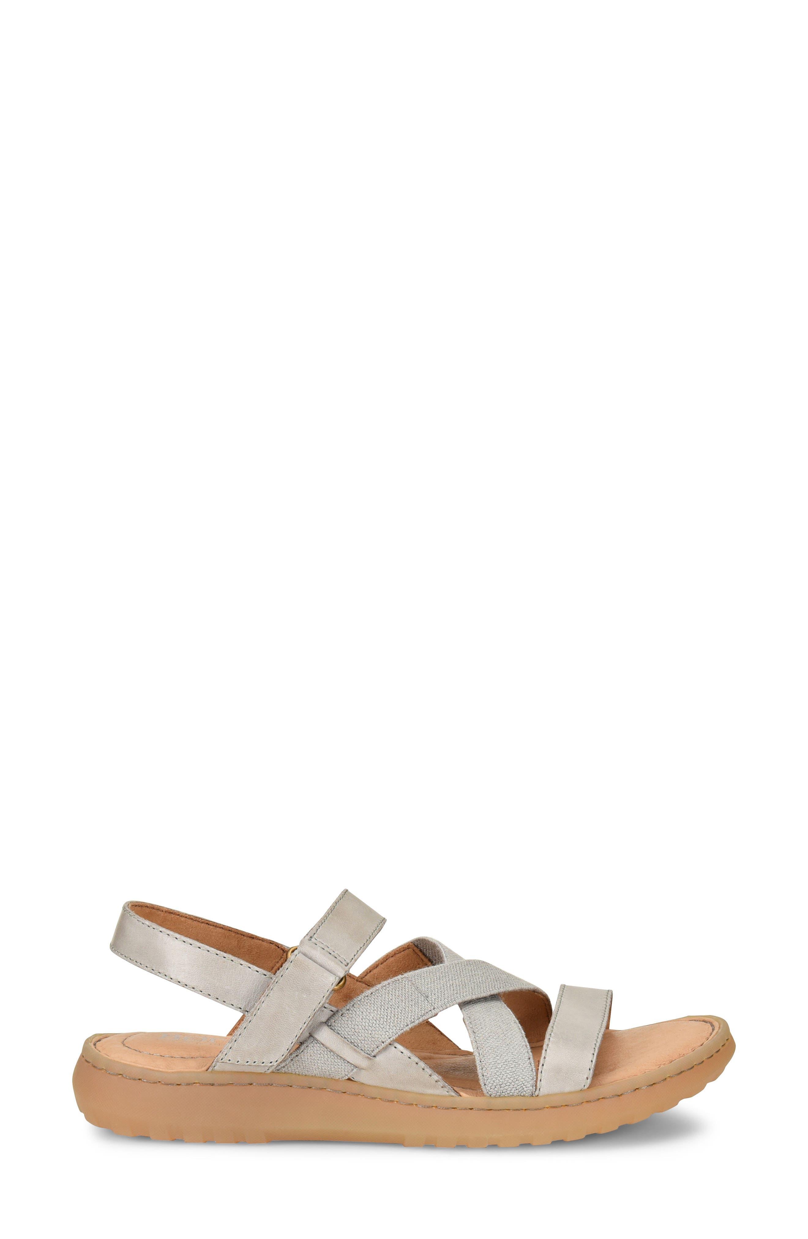 Manta Sandal,                             Alternate thumbnail 3, color,                             Light Grey Leather