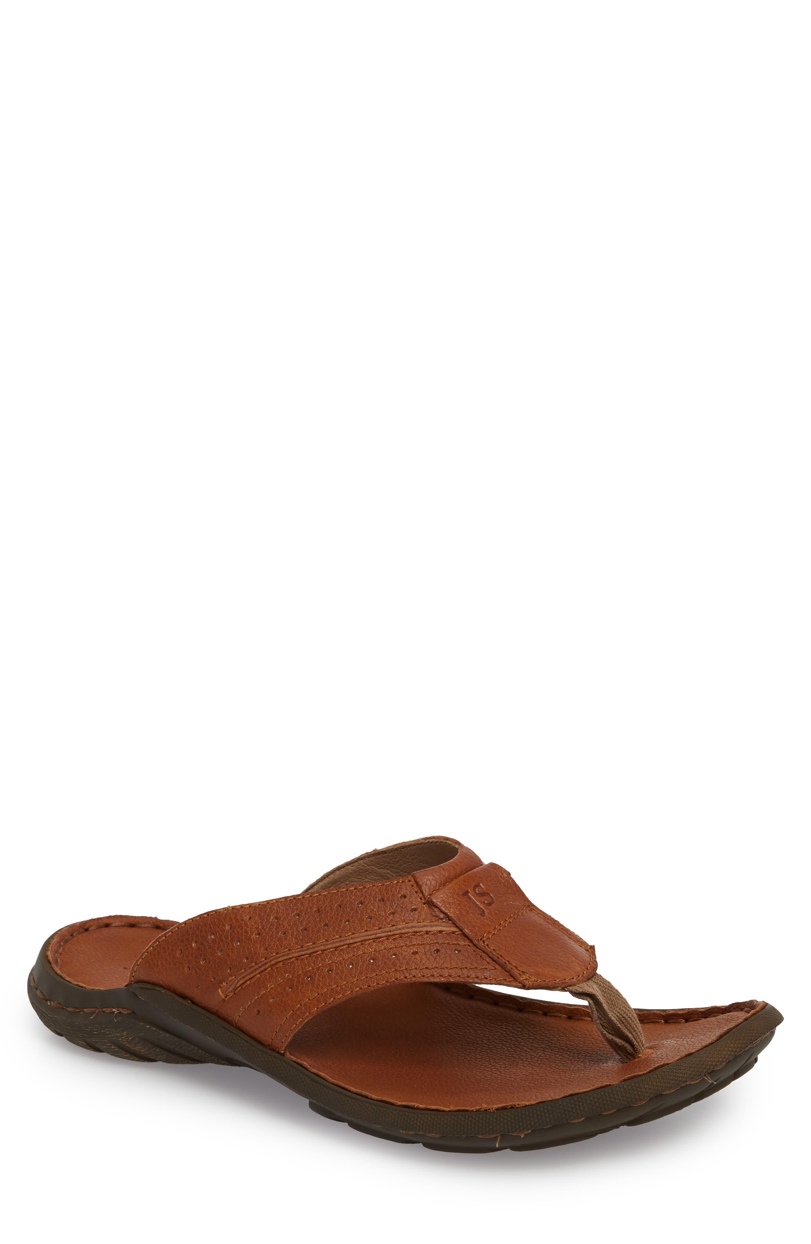 Logan Flip Flop,                         Main,                         color, Brown Leather