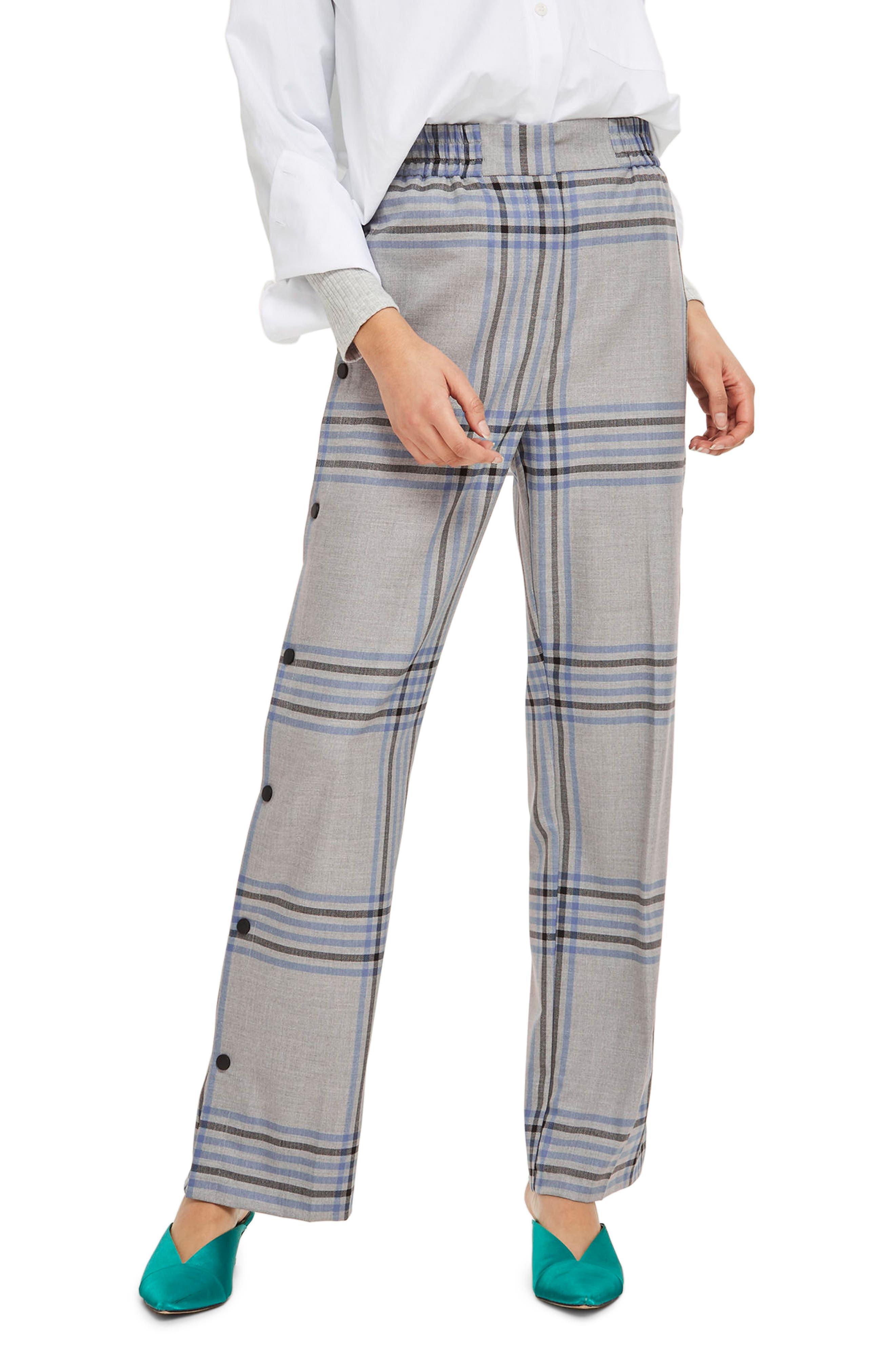 Plaid Popper Wide Leg Trousers,                         Main,                         color, Grey Multi