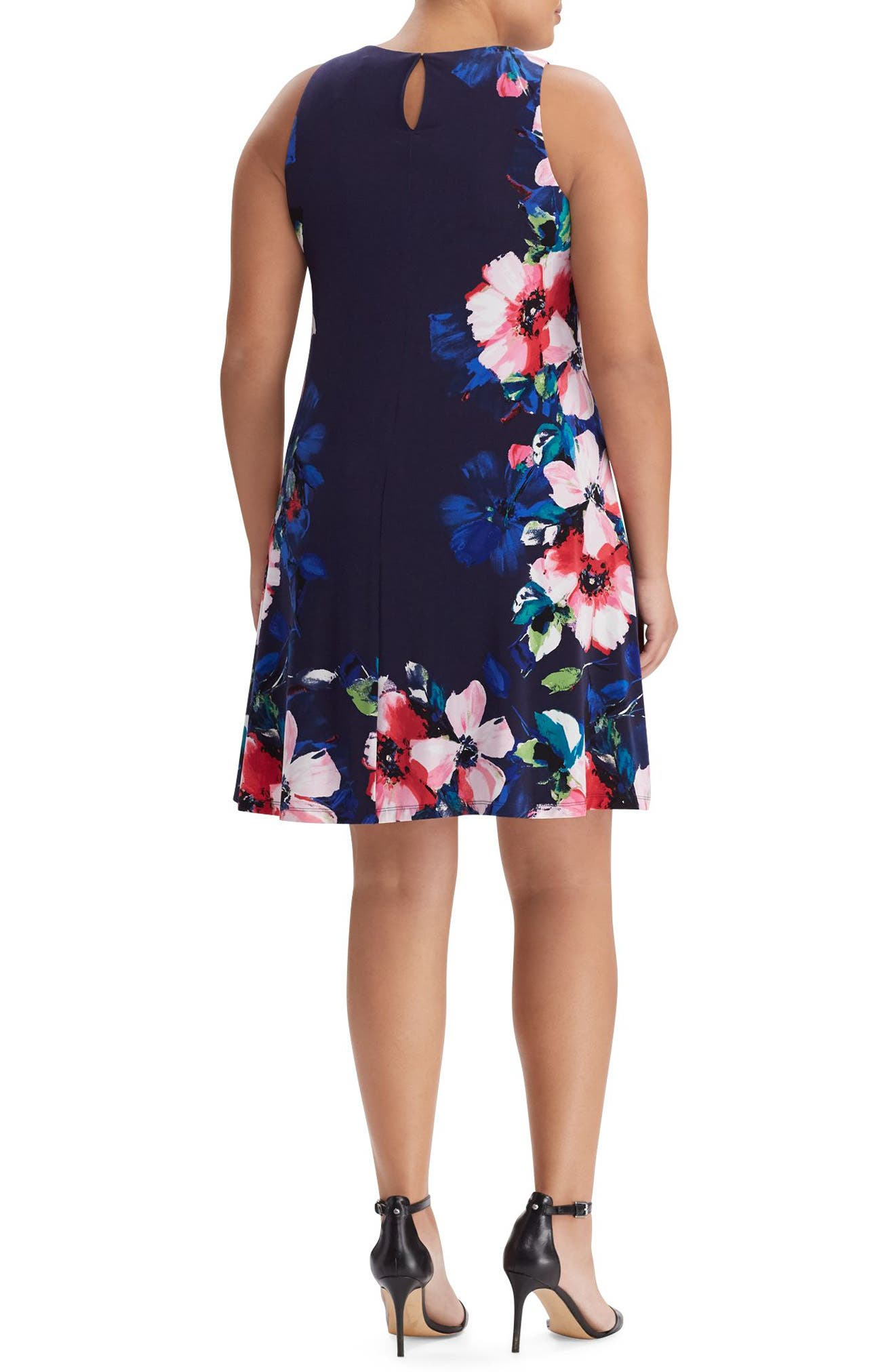 Floral Print A-Line Jersey Dress,                             Alternate thumbnail 2, color,                             Pink-Navy-Multi