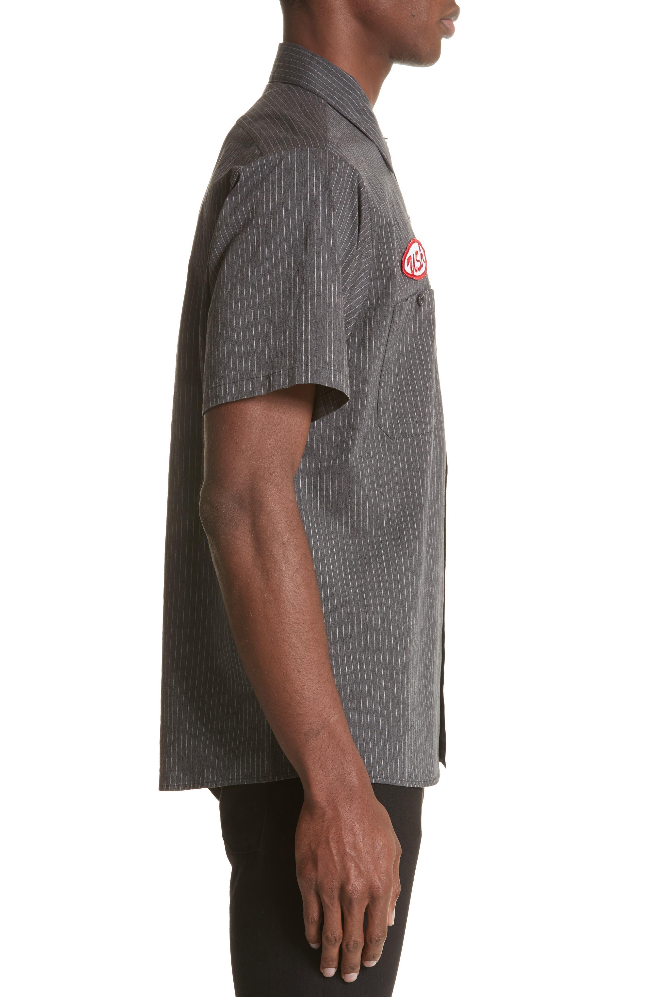 Mechanice Short Sleeve Woven Shirt,                             Alternate thumbnail 4, color,                             Charcoal Pinstripe