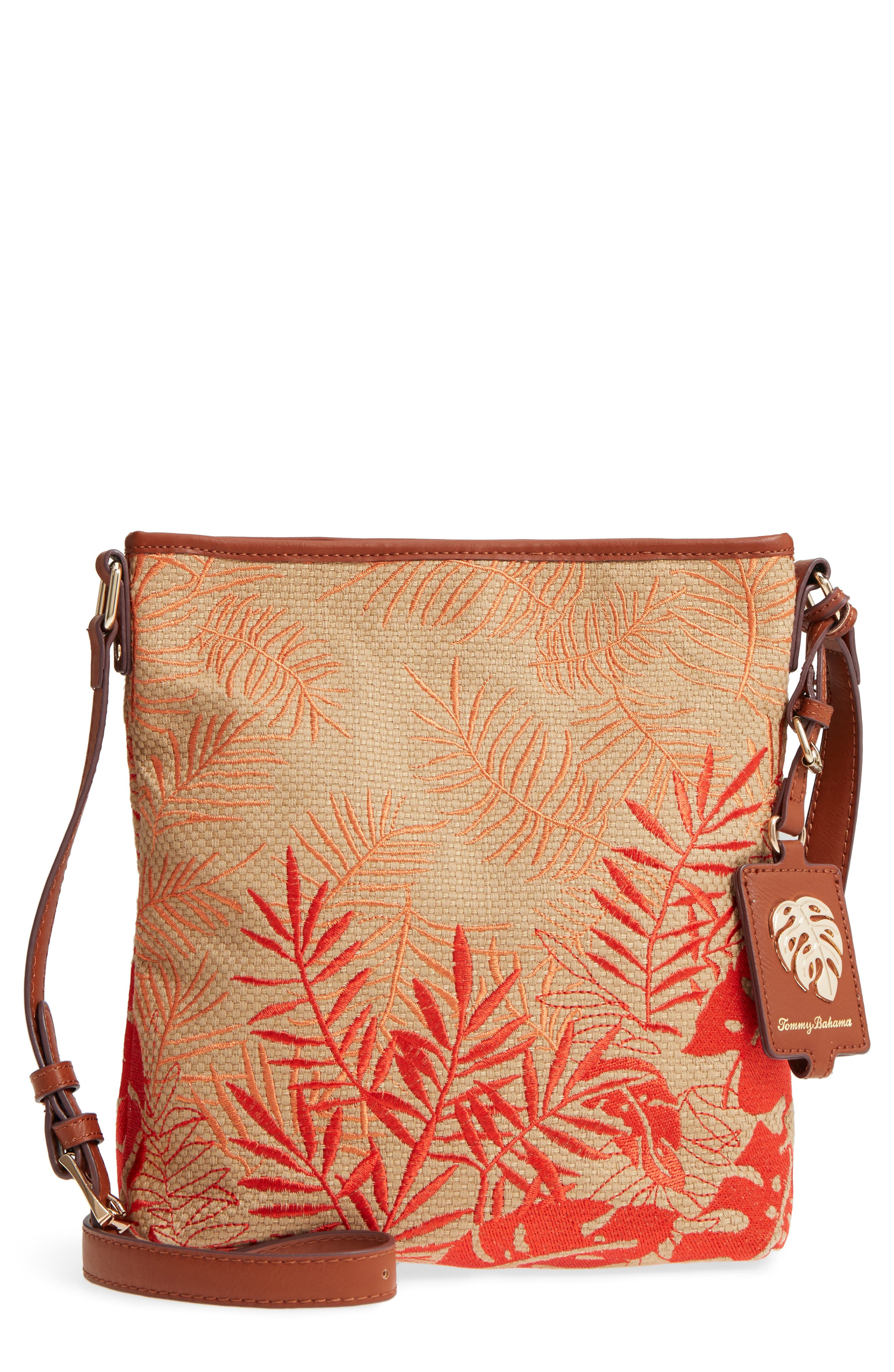 Palm Beach Crossbody Bag,                         Main,                         color, Coral Combo