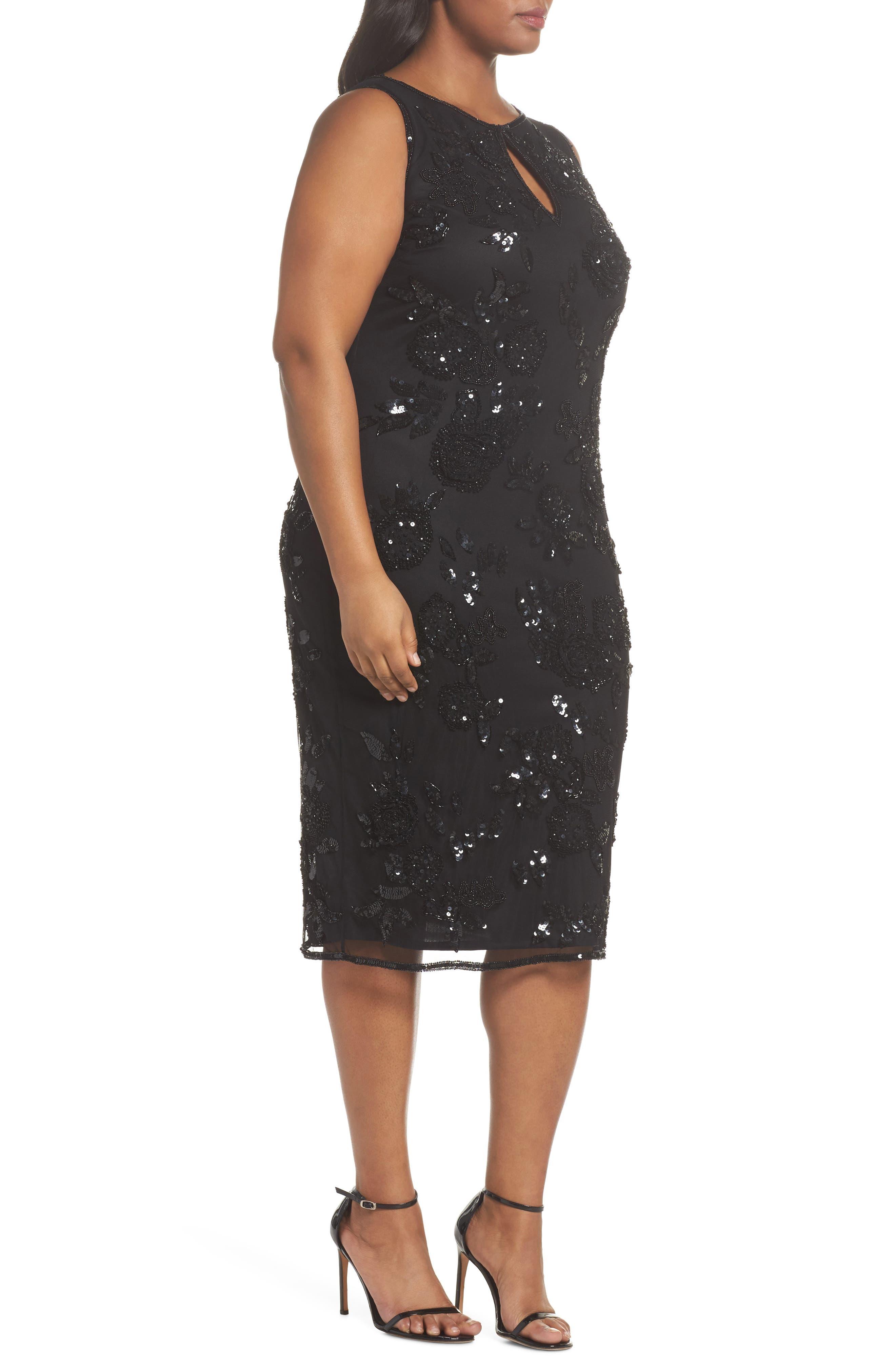 Embellished Keyhole Sheath Dress,                             Alternate thumbnail 3, color,                             Black