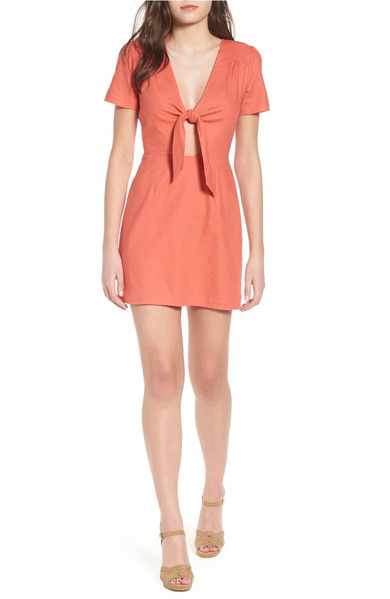 Jillian Tie Front Minidress,                         Main,                         color, Rust Sienna