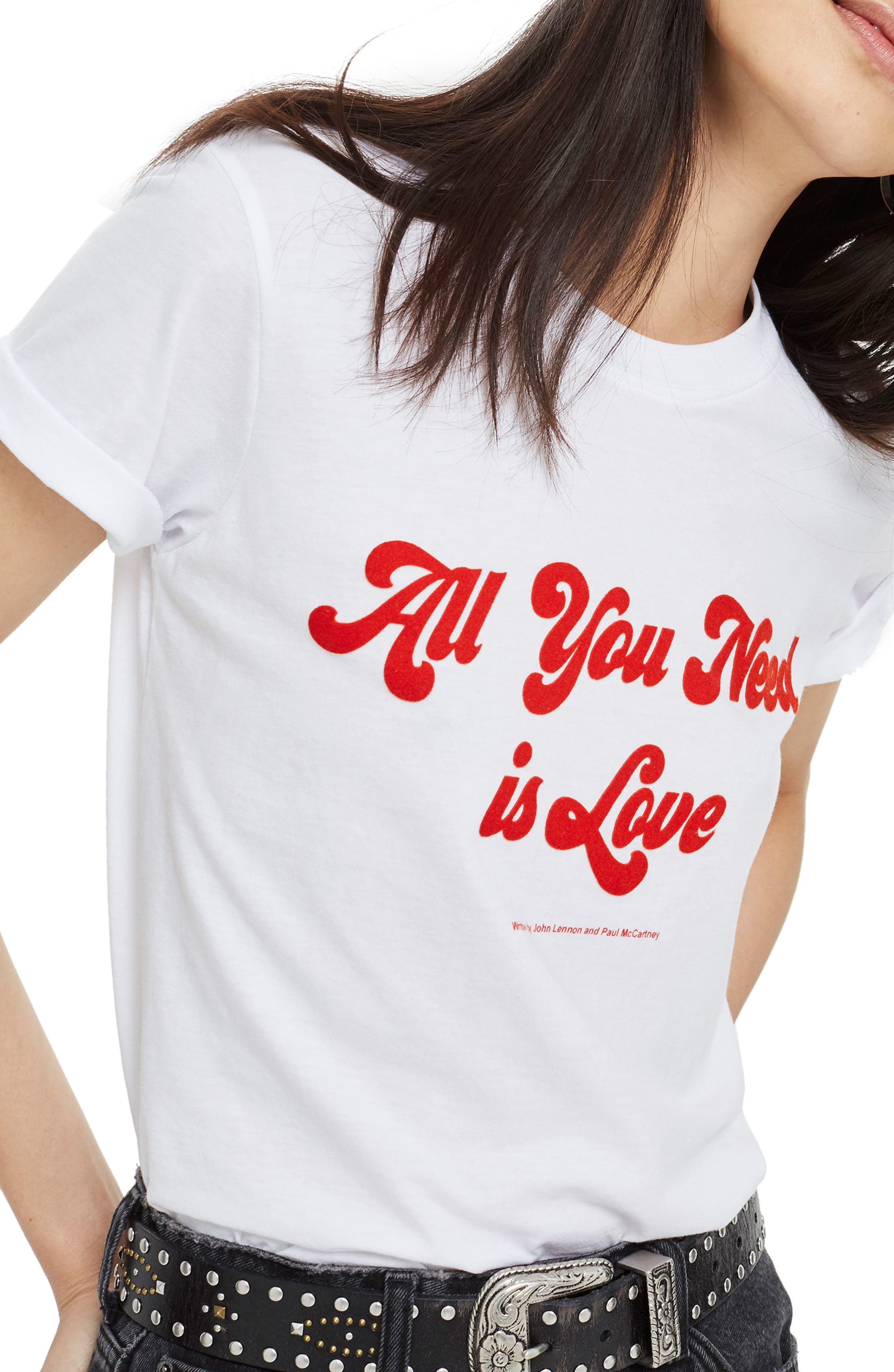 by And Finally All You Need Is Love Tee,                         Main,                         color, White Multi