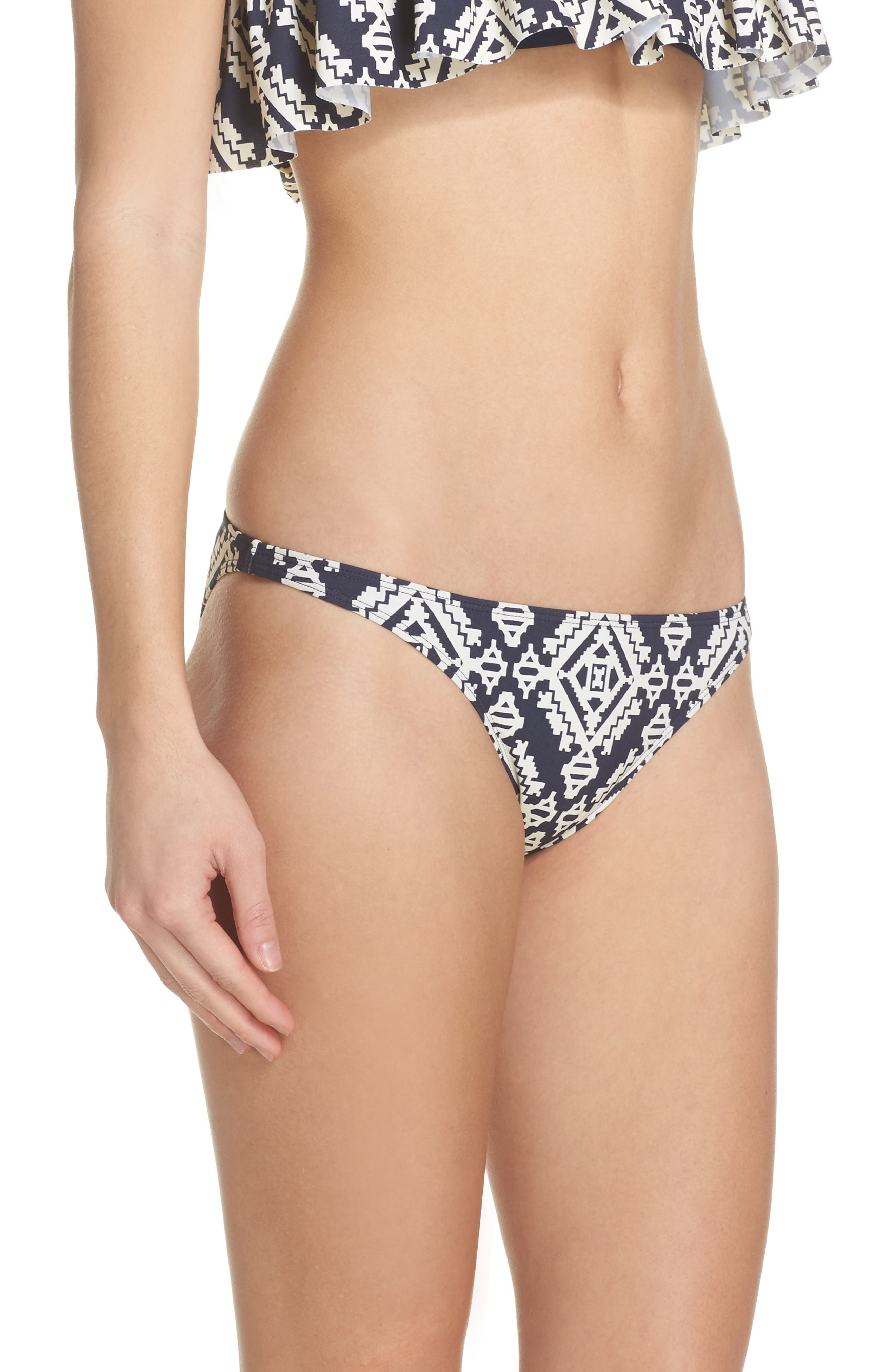 Tapestry Geometric Hipster Bikini Bottoms,                             Alternate thumbnail 3, color,                             Tory Navy Tapestry Geo