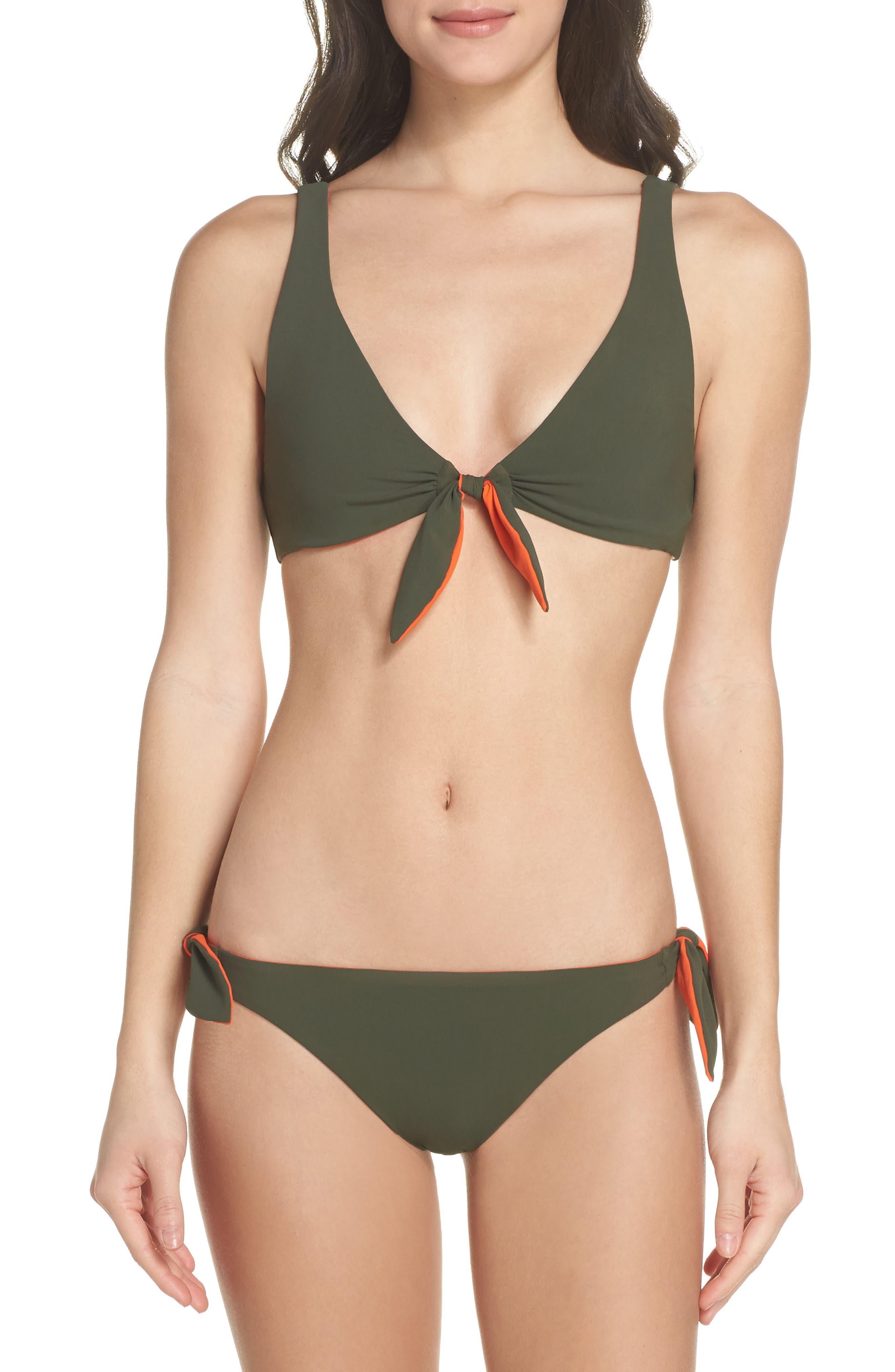 Biarritz Reversible Bikini Bottoms,                             Alternate thumbnail 6, color,                             Green Olive/ Sweet Tangerine