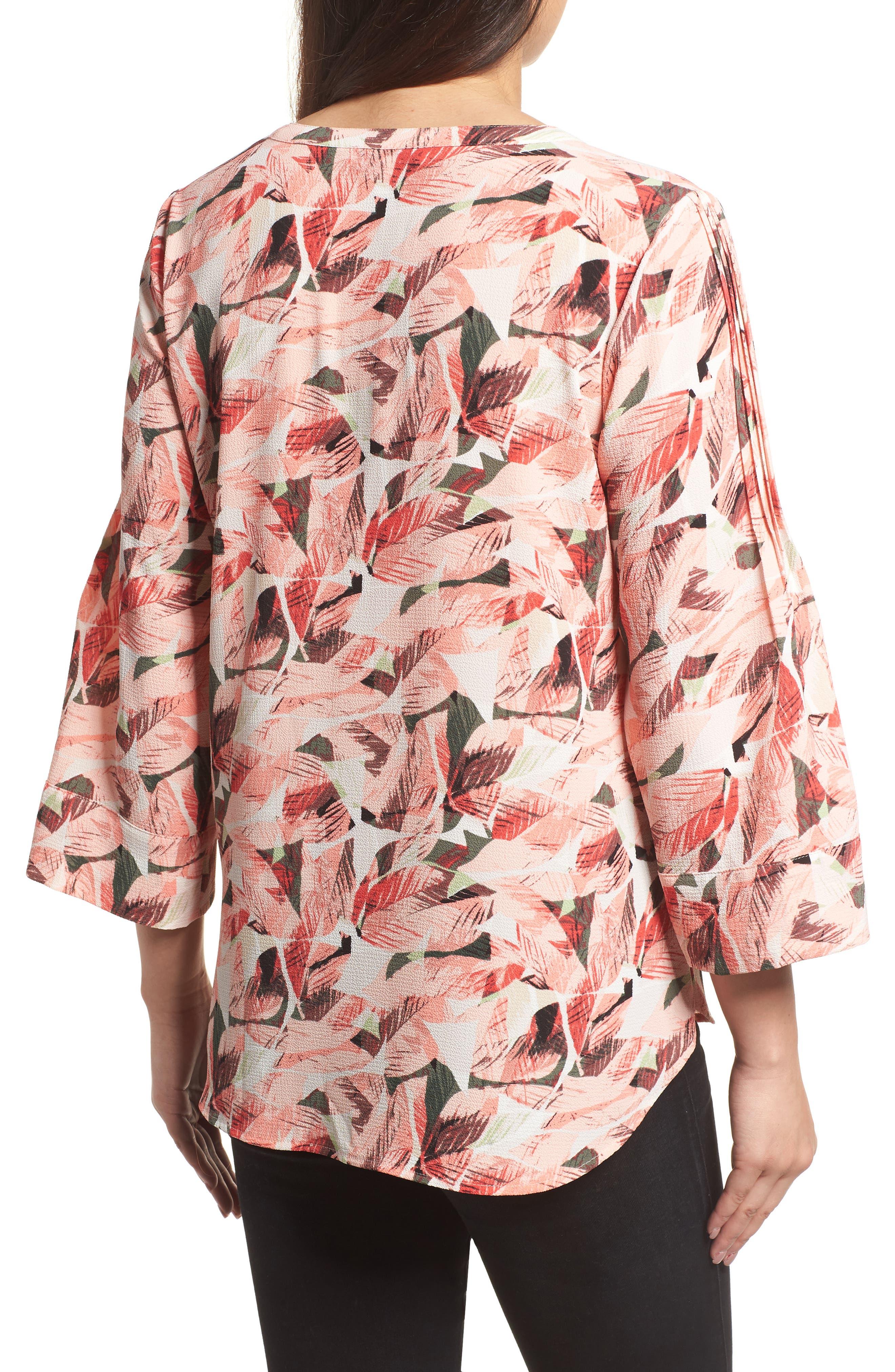 Tropical Print Pleated Sleeve Top,                             Alternate thumbnail 2, color,                             867-Sunrisepeach