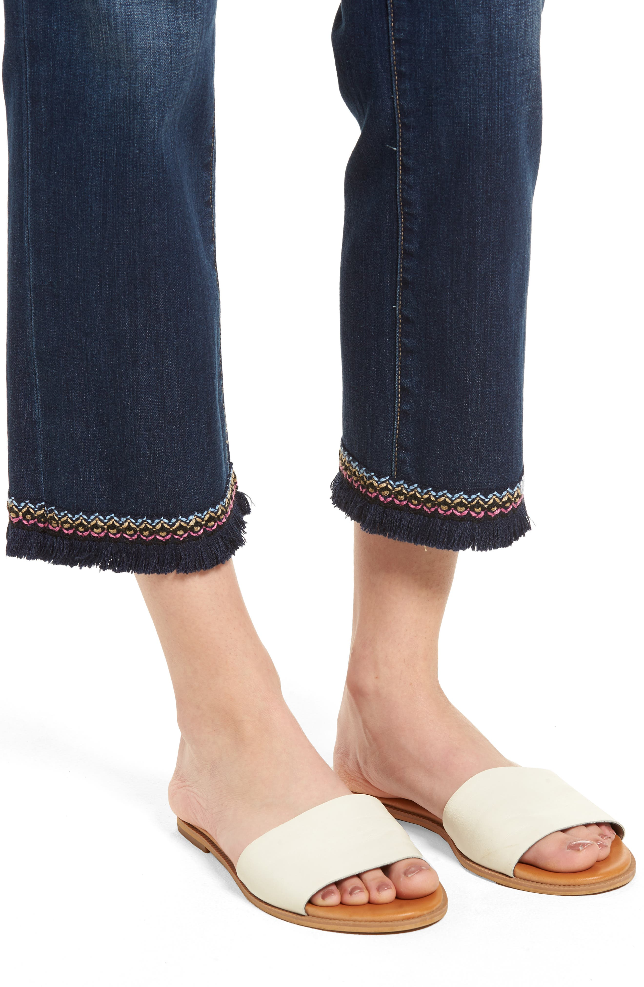 Peri Embroidery Fringe Jeans,                             Alternate thumbnail 4, color,                             Med Indigo