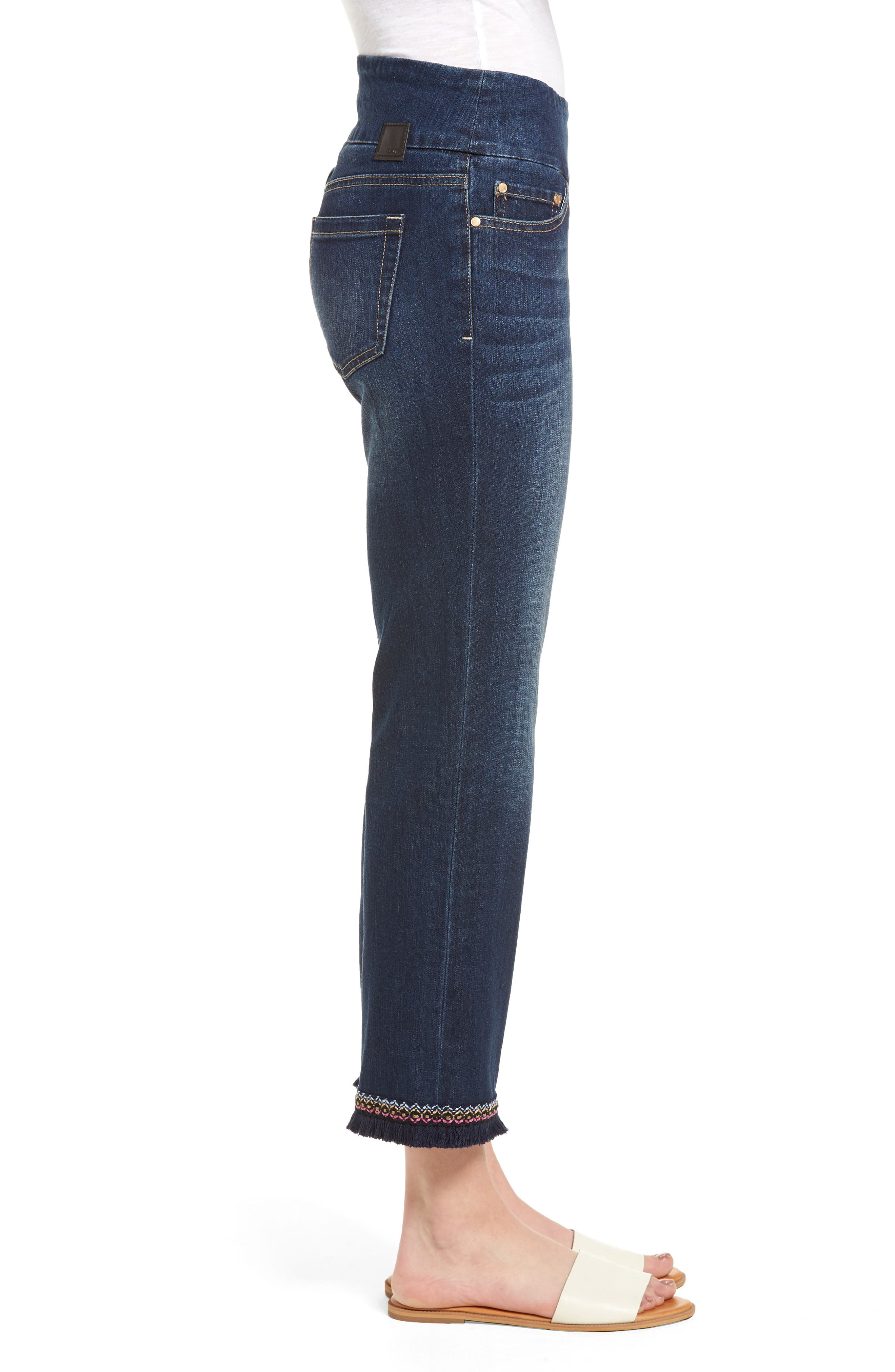 Peri Embroidery Fringe Jeans,                             Alternate thumbnail 3, color,                             Med Indigo