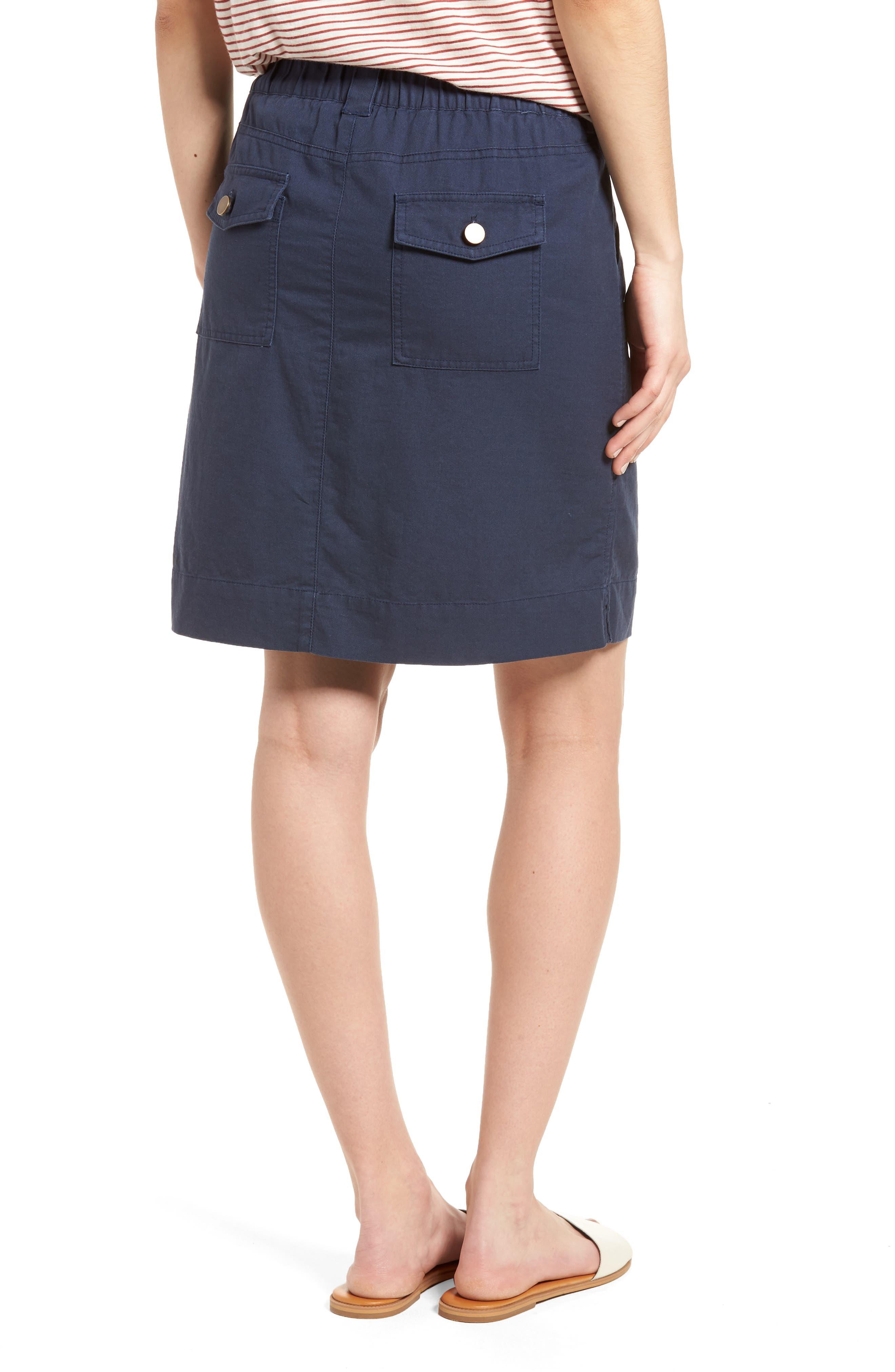 Twill Utility Skirt,                             Alternate thumbnail 2, color,                             Navy Indigo