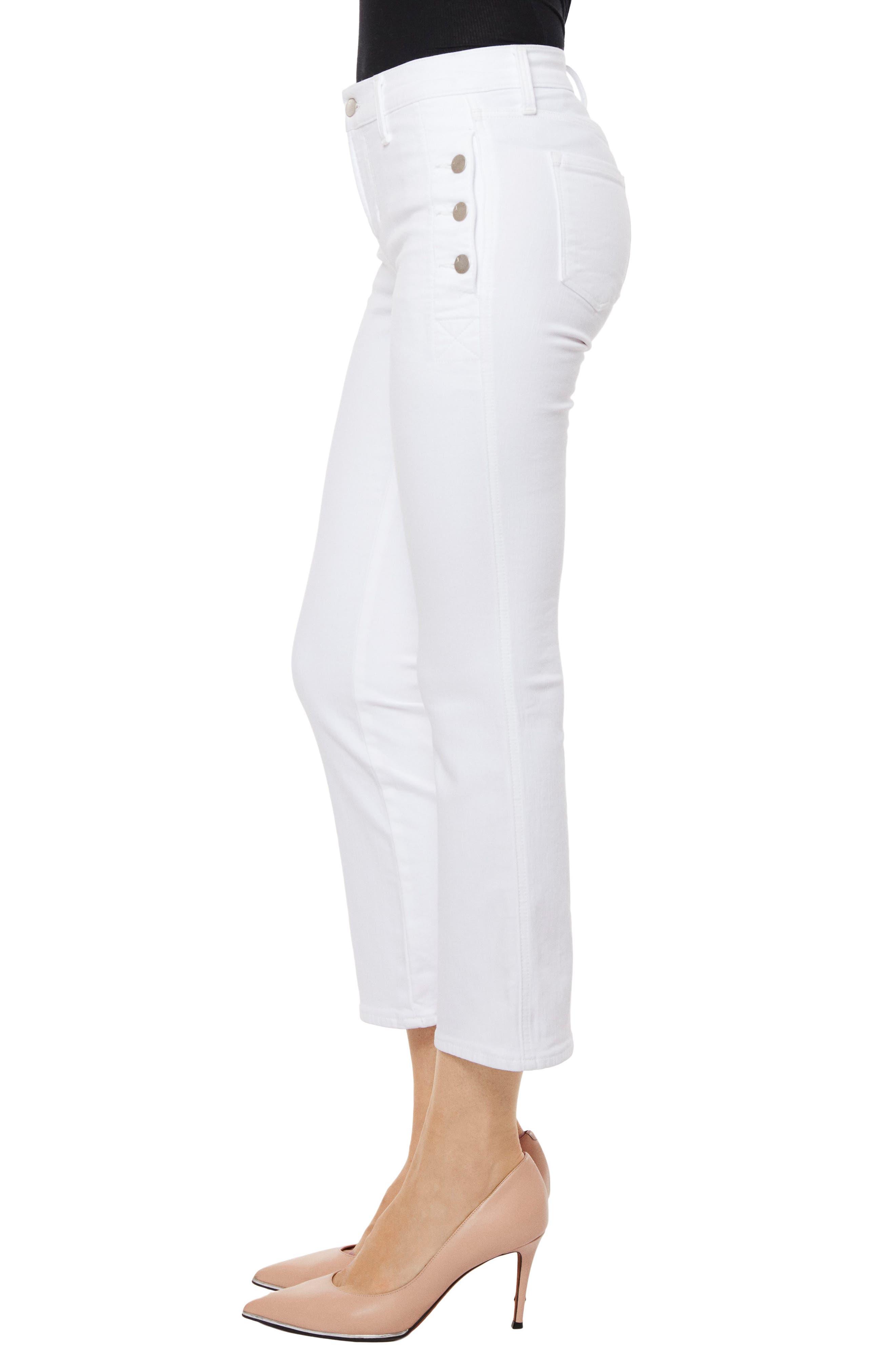 Zion Crop Flare Jeans,                             Alternate thumbnail 3, color,                             Blanc