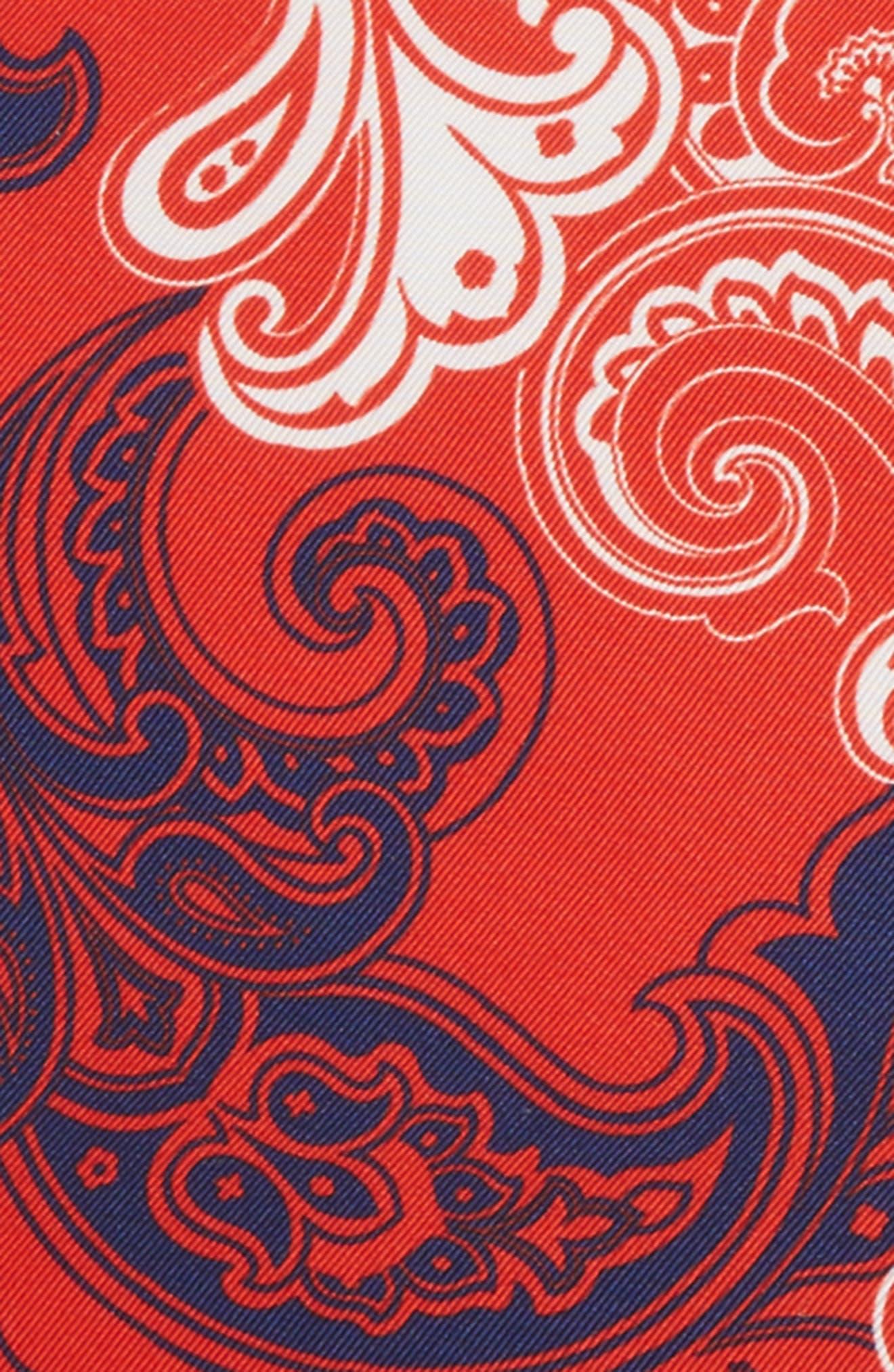 Paisley Silk Pocket Square,                             Alternate thumbnail 3, color,                             Red