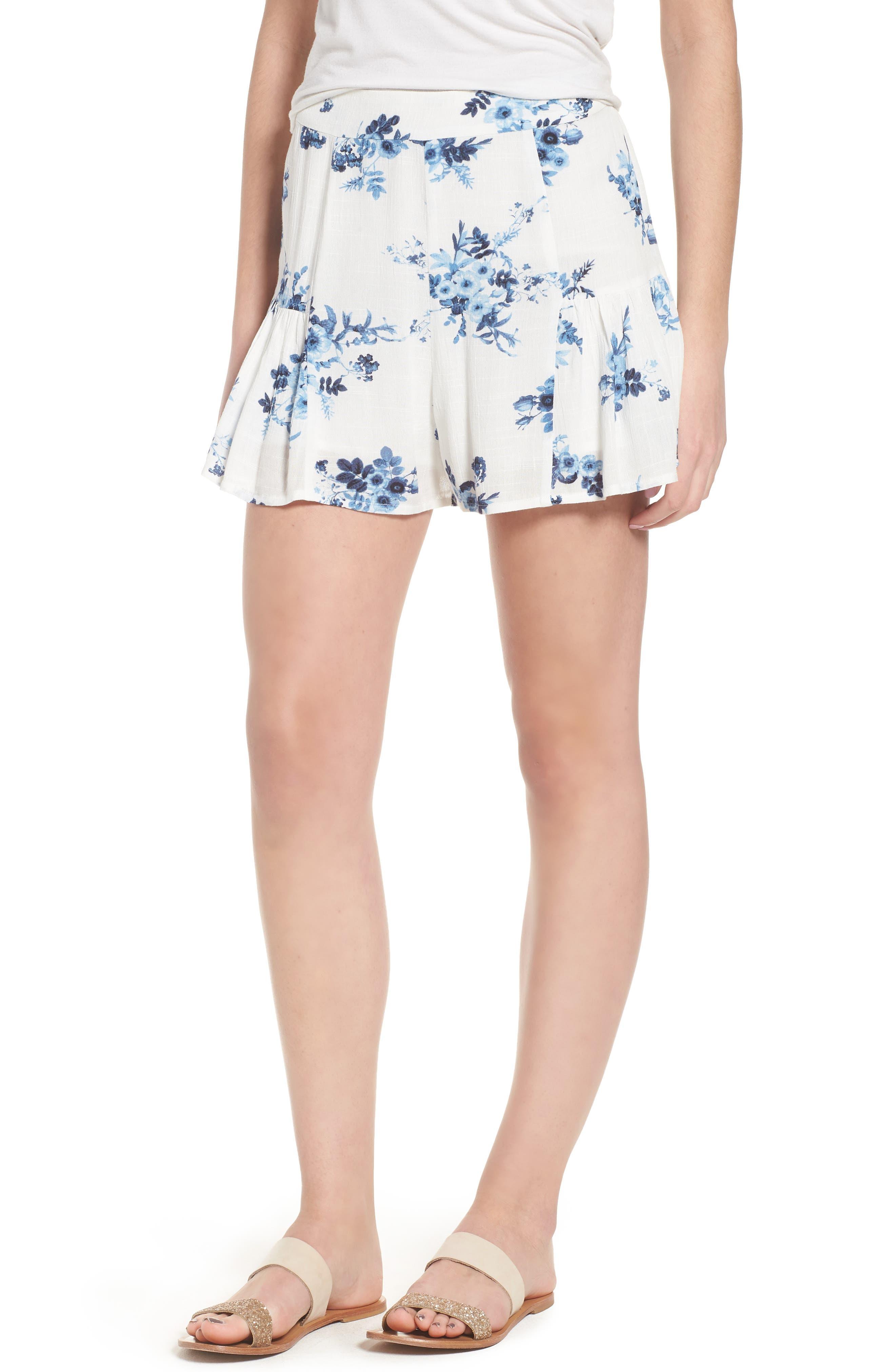 Floral Ruffle Hem Shorts,                             Main thumbnail 1, color,                             Indigo Floral