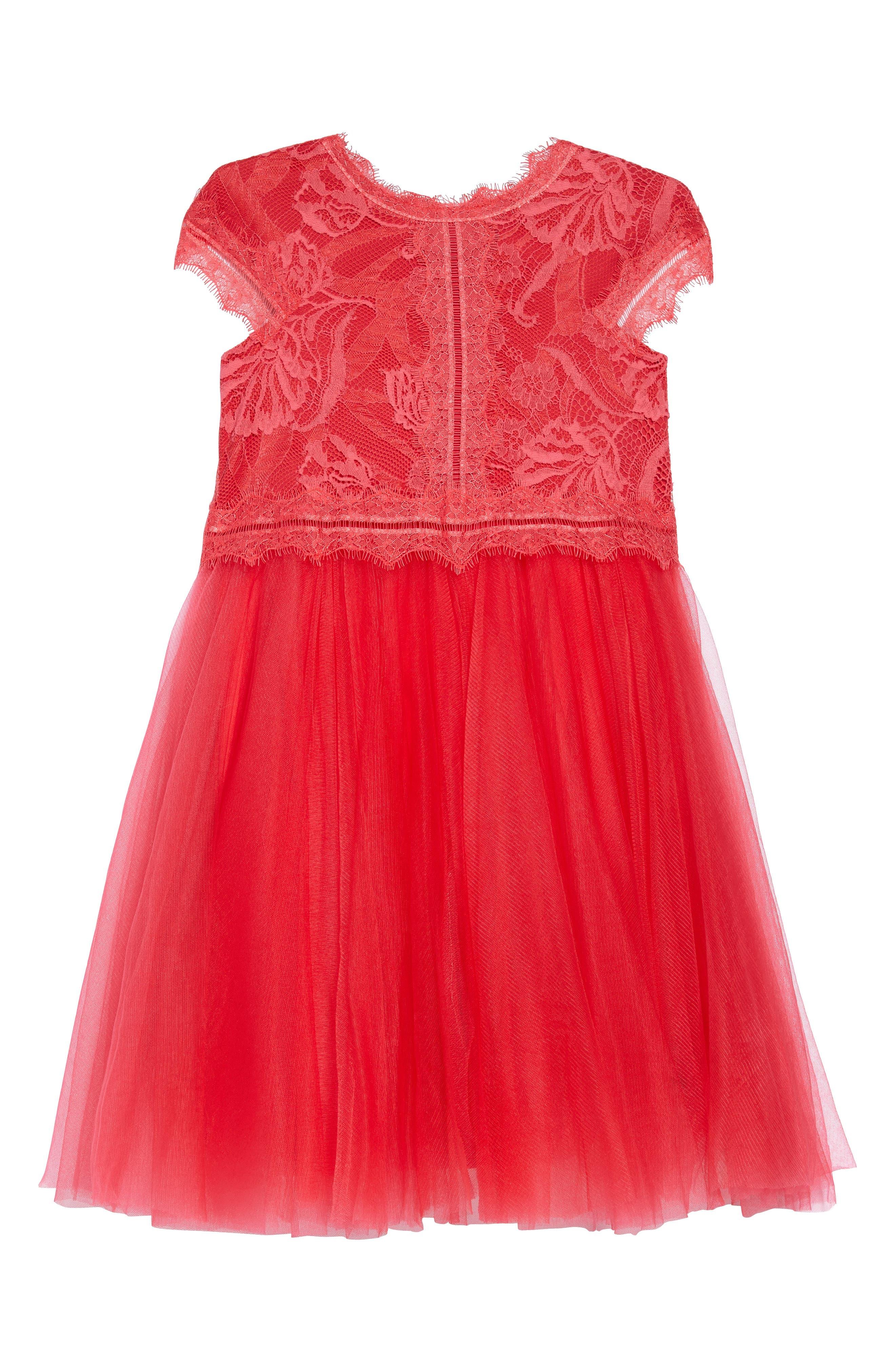 Tadashi Shoji Floral Lace Tulle Dress (Toddler Girls, Little Girls & Big Girls)