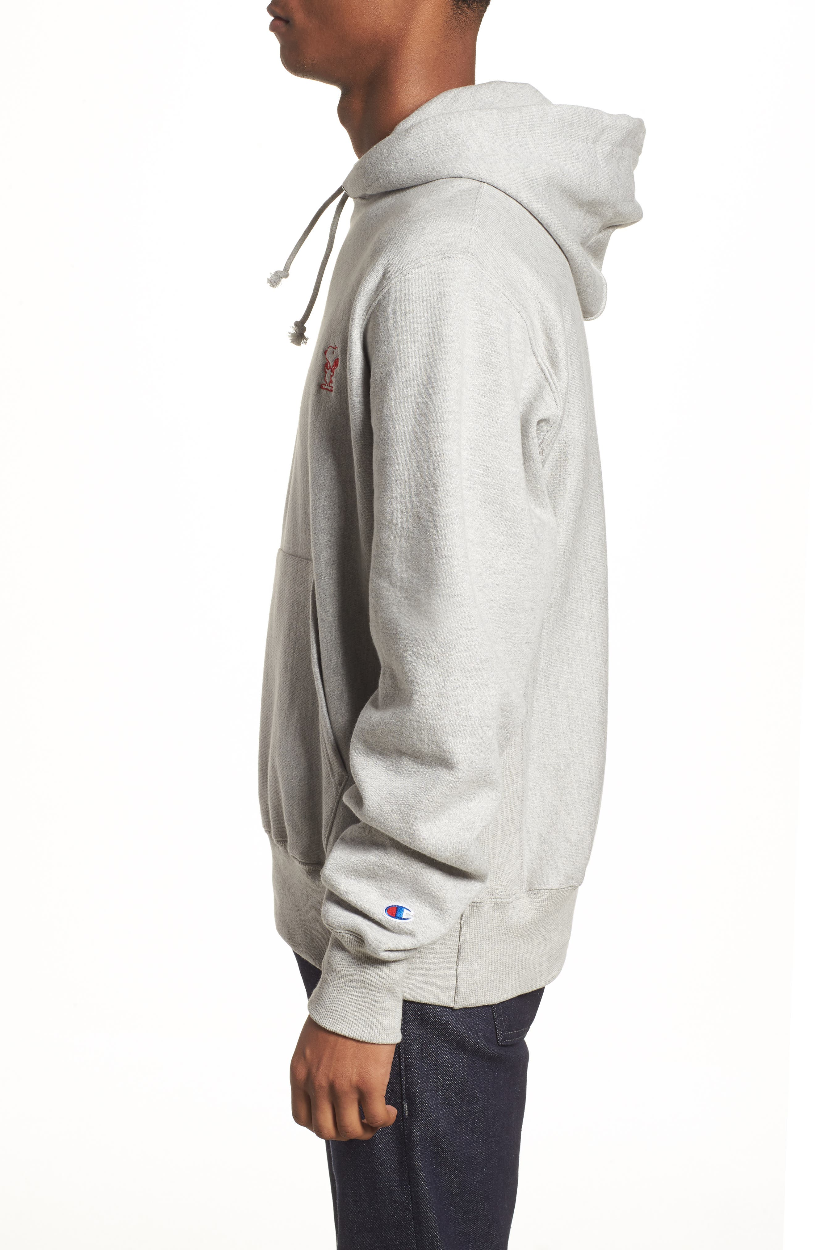 Snoopy Unisex Pullover Hoodie,                             Alternate thumbnail 4, color,                             Oxford Grey