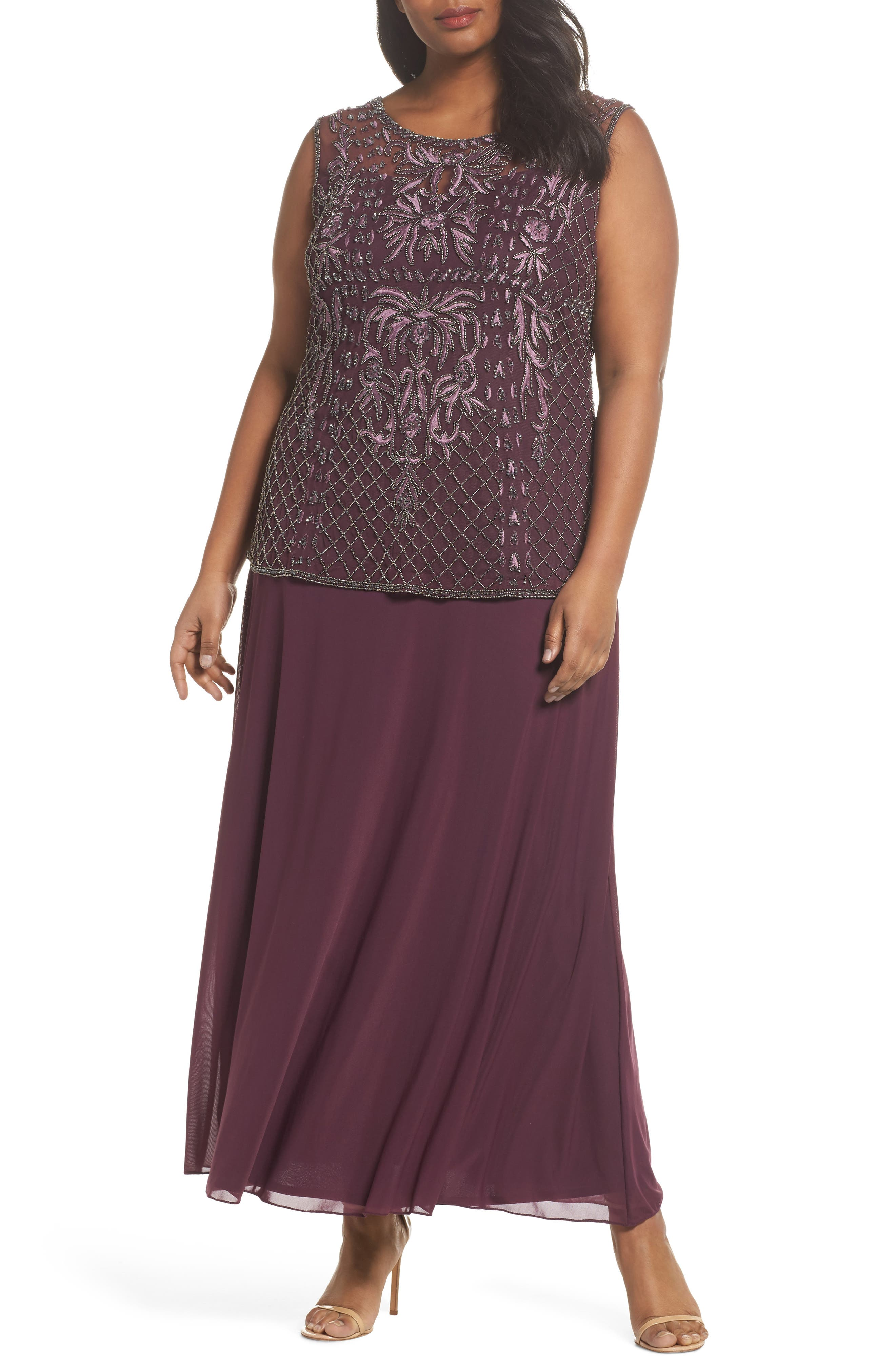 Embellished Gown,                             Main thumbnail 1, color,                             Plum