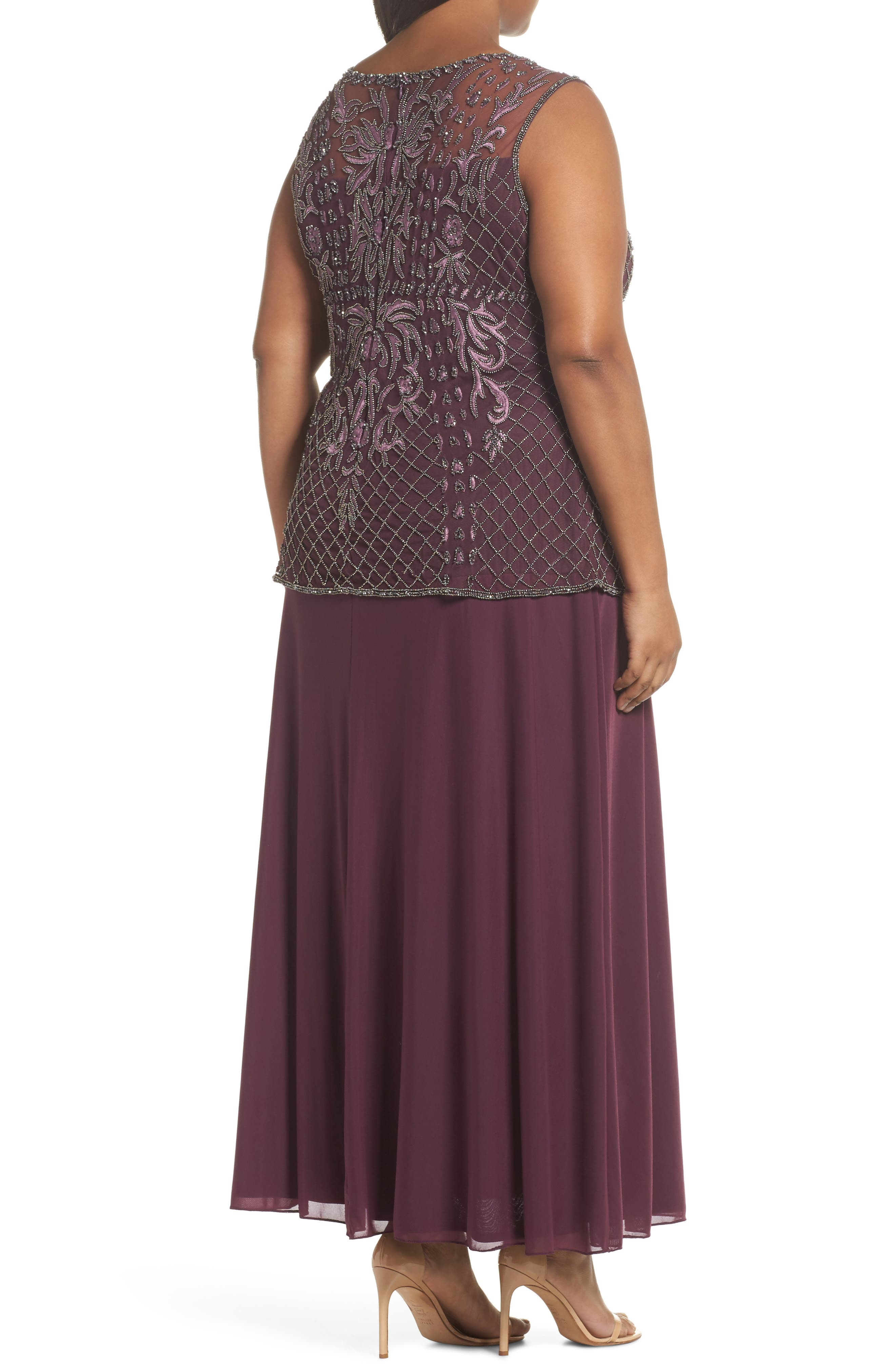 Embellished Gown,                             Alternate thumbnail 2, color,                             Plum