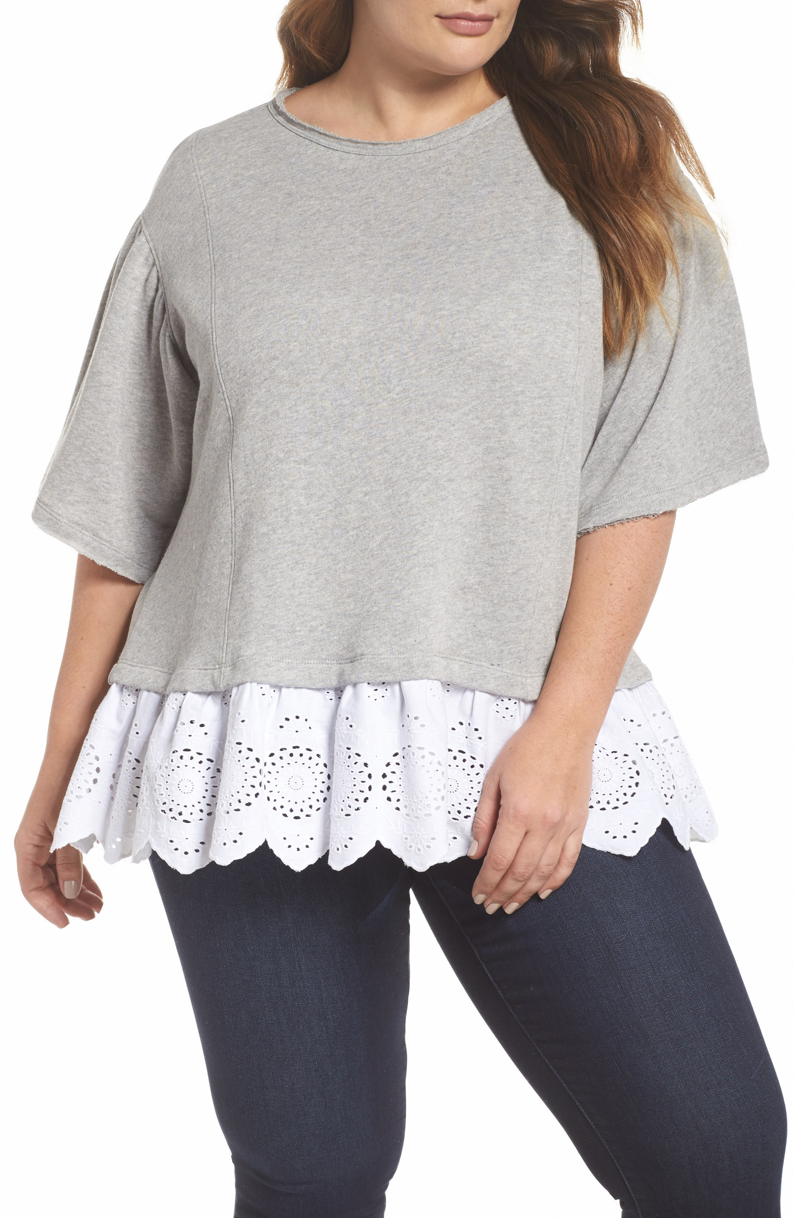 Twofer Lace Hem Sweatshirt,                         Main,                         color, Grey Heather- White