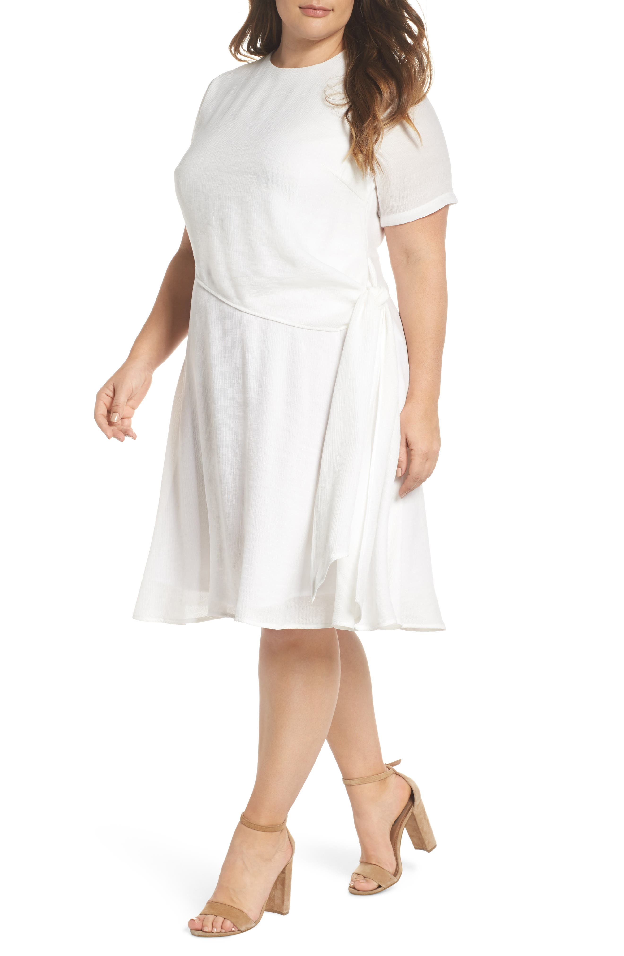 LOST INK Knot Waist Skater Dress (Plus Size)